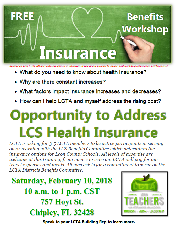 Saturday, February 10, 2018 - What do you need to know about health insurance?Why are there constant increases?What factors impact insurance increases and decreases?How can I help LCTA and myself address the rising cost?