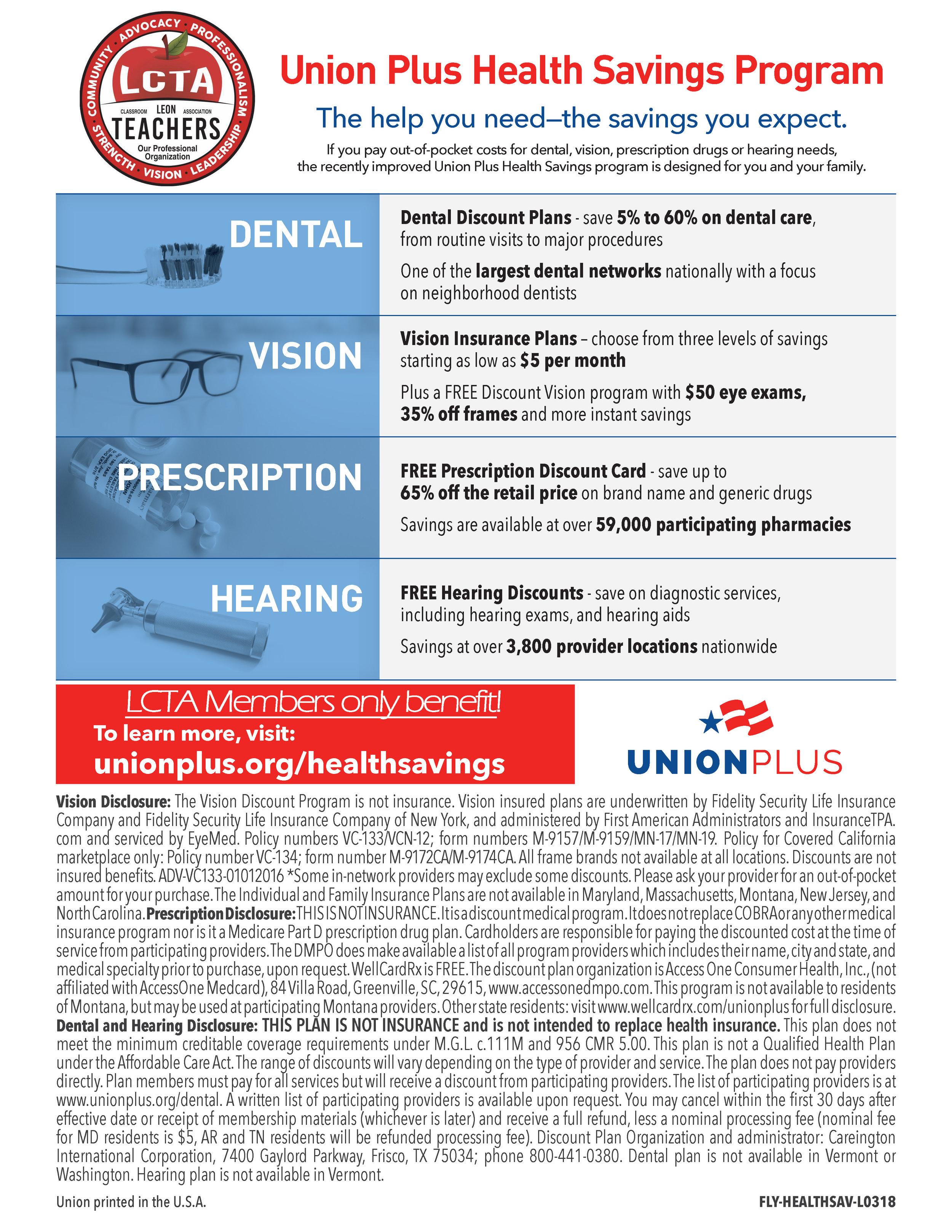 Union Plus Savings! - Visit unionplus.org/healthsavings.