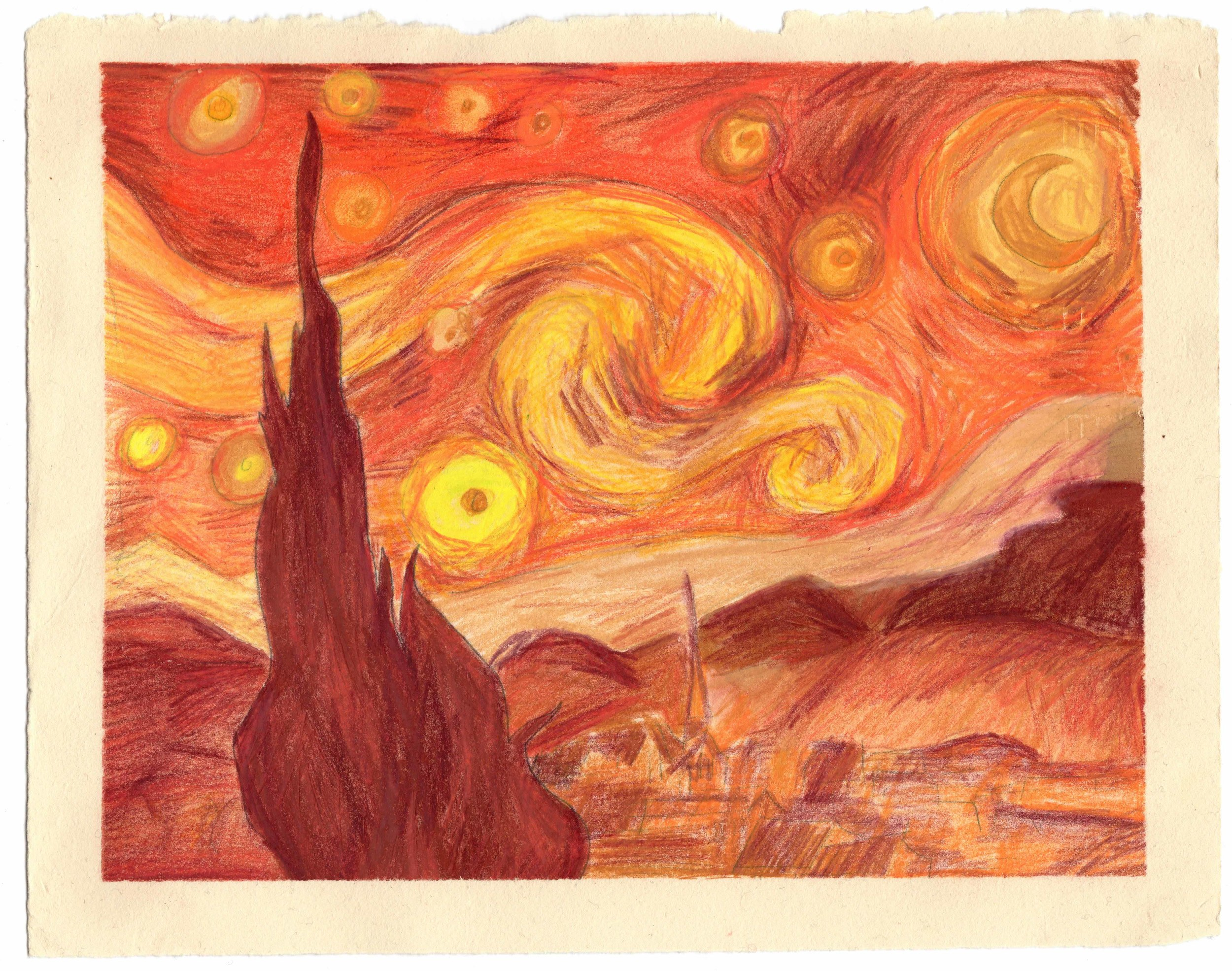 Starry Night Exercise // V  an Gogh's starry night, what happens with a warm scheme?   reproduction. colored pencil, pastel, water color. 9X12 inches (22.8X30.5cm)