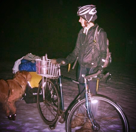 we rode out to our Paper Shanty (~15 miles) to stay over night on the frozen lake, winter 2008. Rueben the dog got a free ride in the trailer.