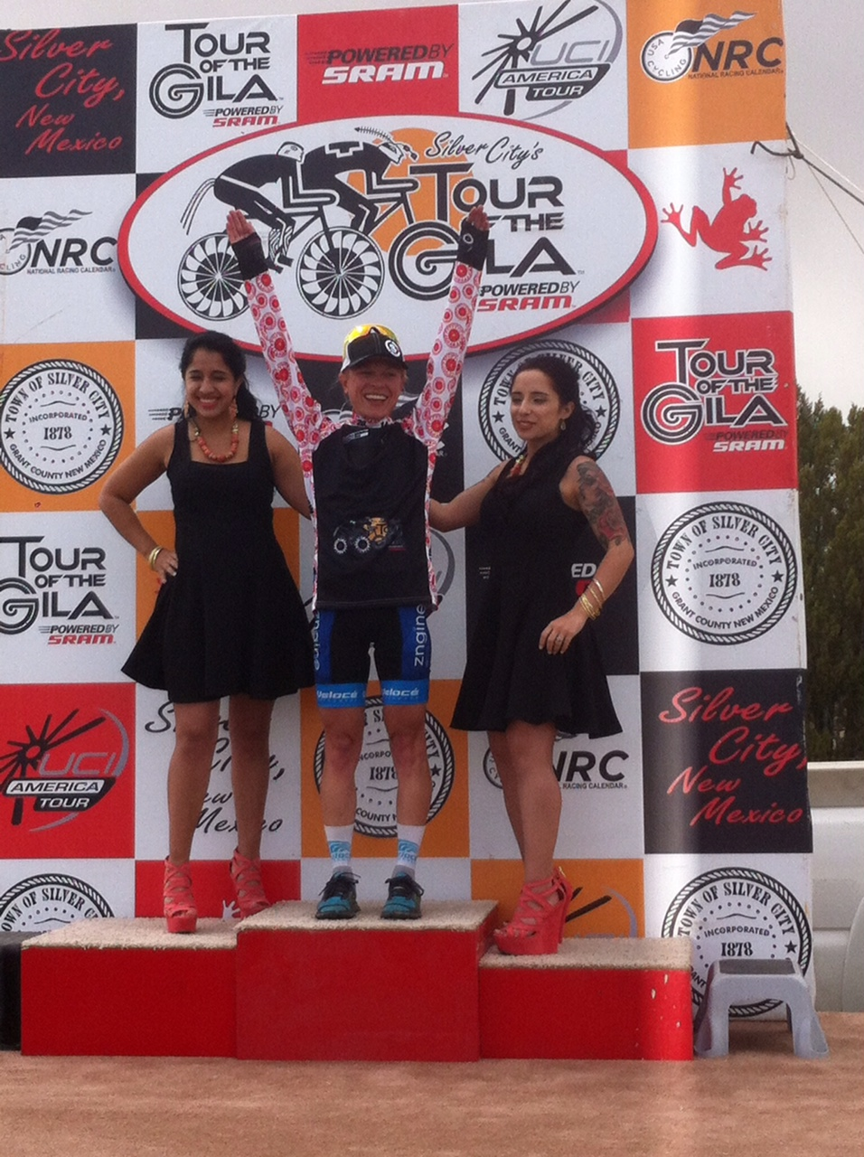 Mountain Goat on the podium in the climbers jersey