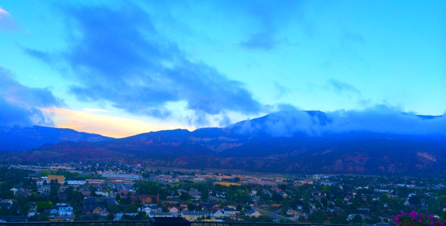 view of Cedar City in the evening