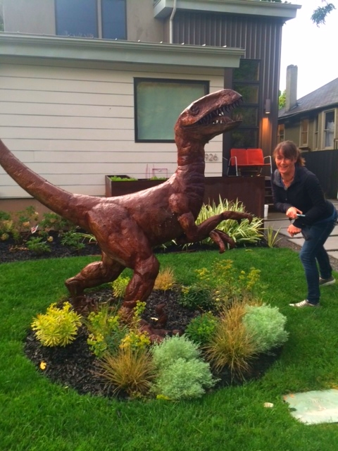 Olivia shows us her best t-rex pose in SLC.