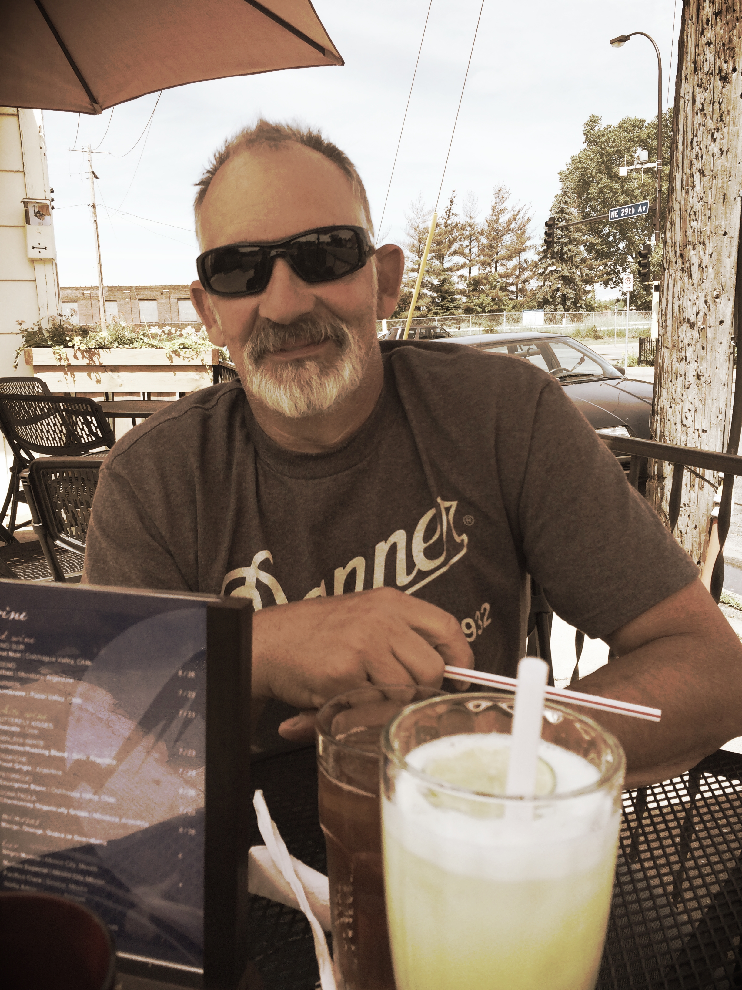 Dad staying cool in those shades and letting me take him out to lunch after our road trip back to MPLS