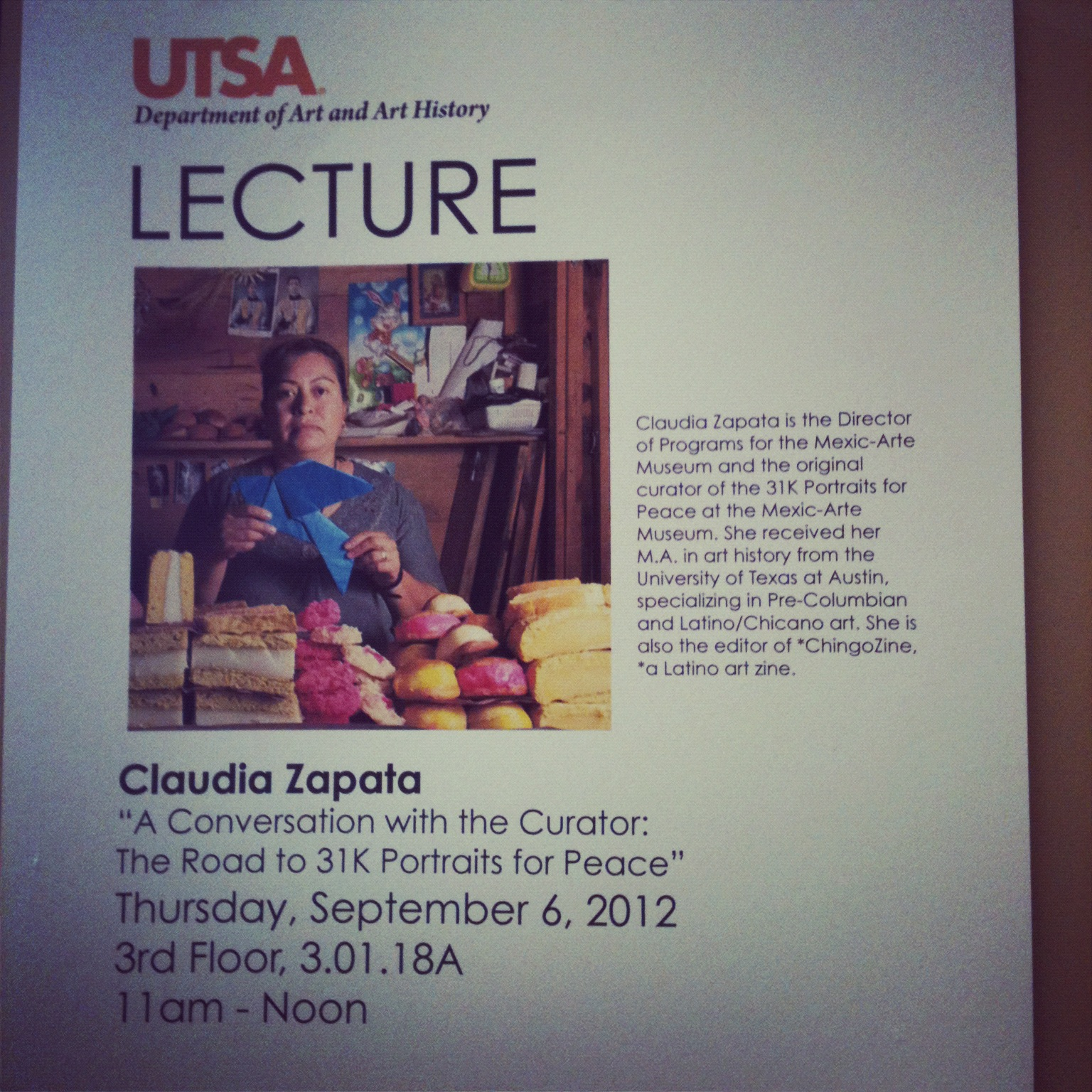 """Flier for """"Curator's Talk: The Road to 31K Portraits for Peace"""" at the University of Texas-San Antonio, 2012"""