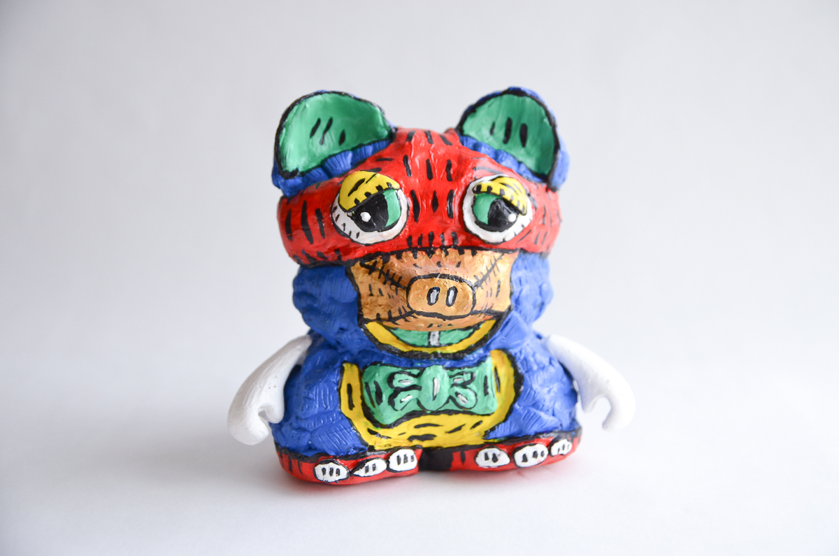 "Mapache Bear, 2014; acrylic on resin, hand-casted & hand-painted; 7"" x 6"" x 5""; Weight: 1.5 lb; Edition of 1"