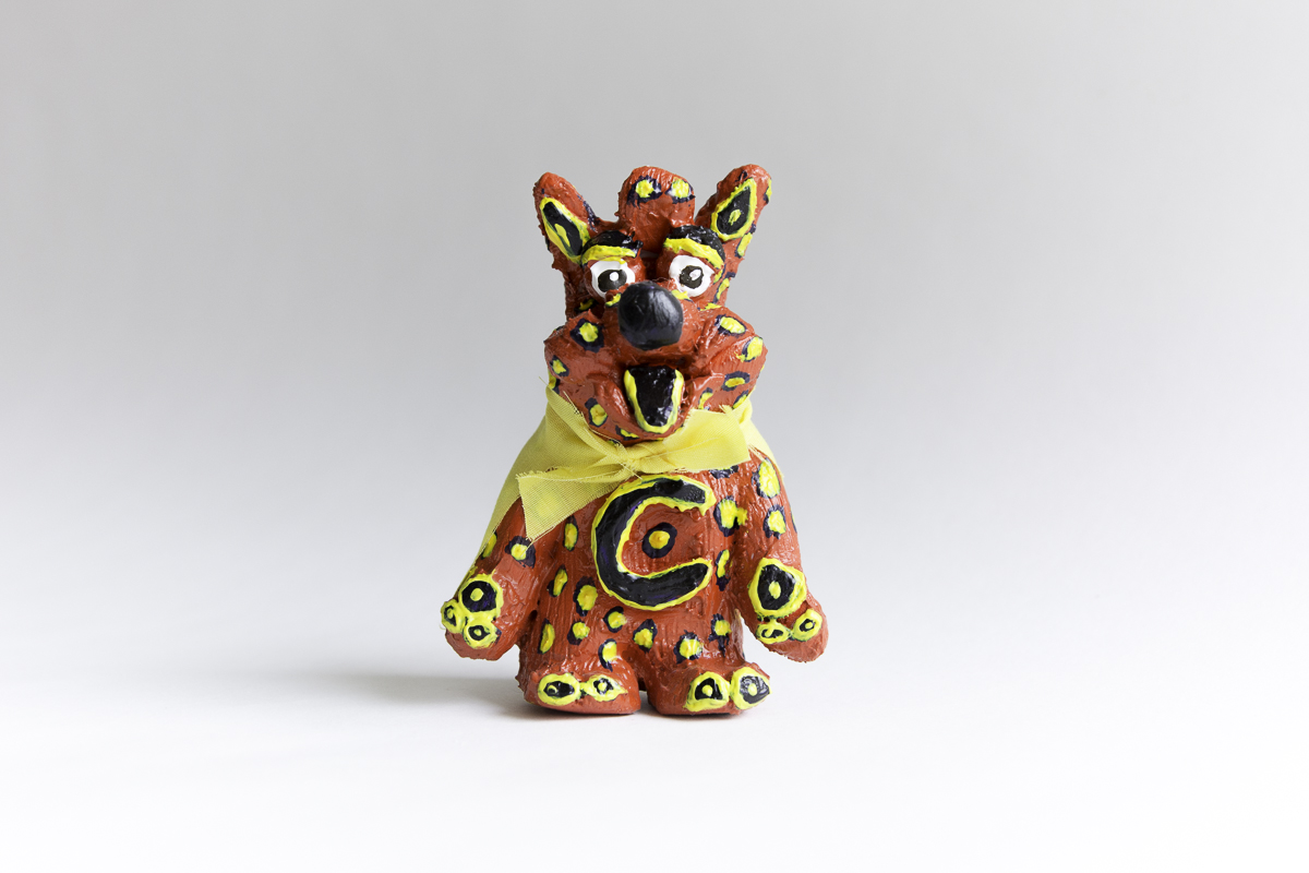 "El Coyote, 2014; acrylic on resin with fabric cape, hand-casted & hand-painted; 4"" x 3""; Edition of 1"