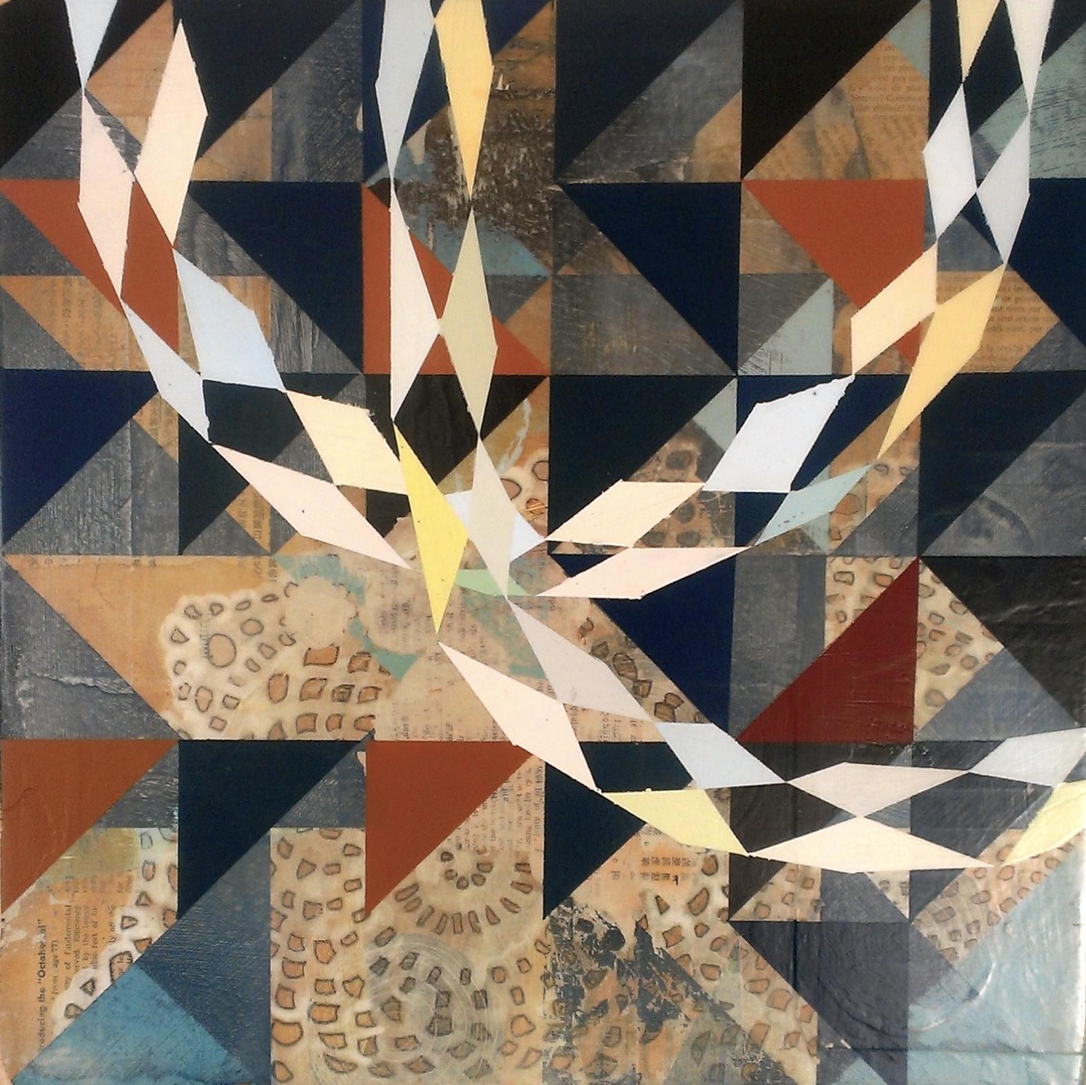 "Untitled, 18""x18"", acrylic & collage on wood panel, 2011"