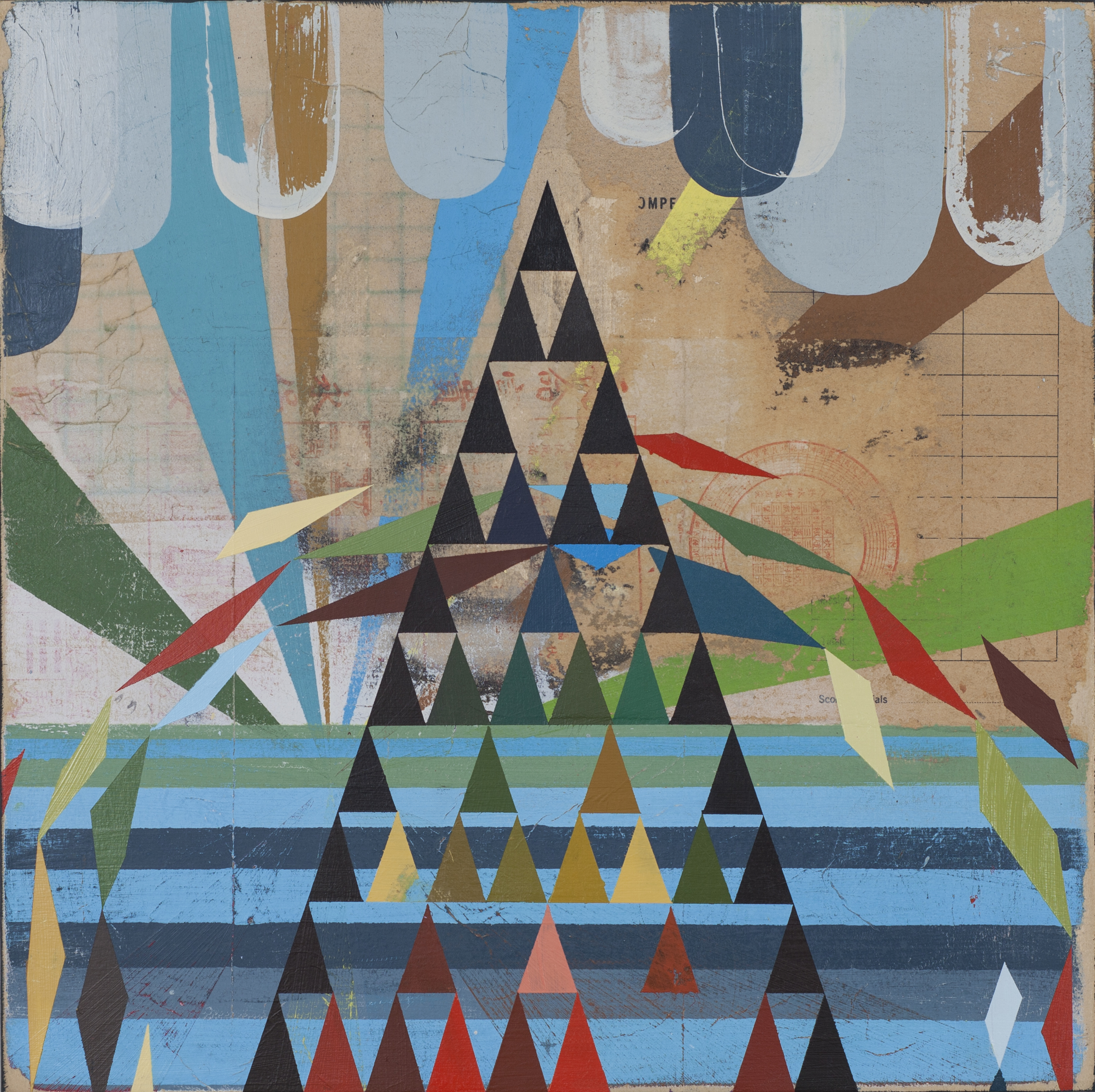 "Manzanillo, 18""x18"", acrylic and collage on wood panel, 2012"