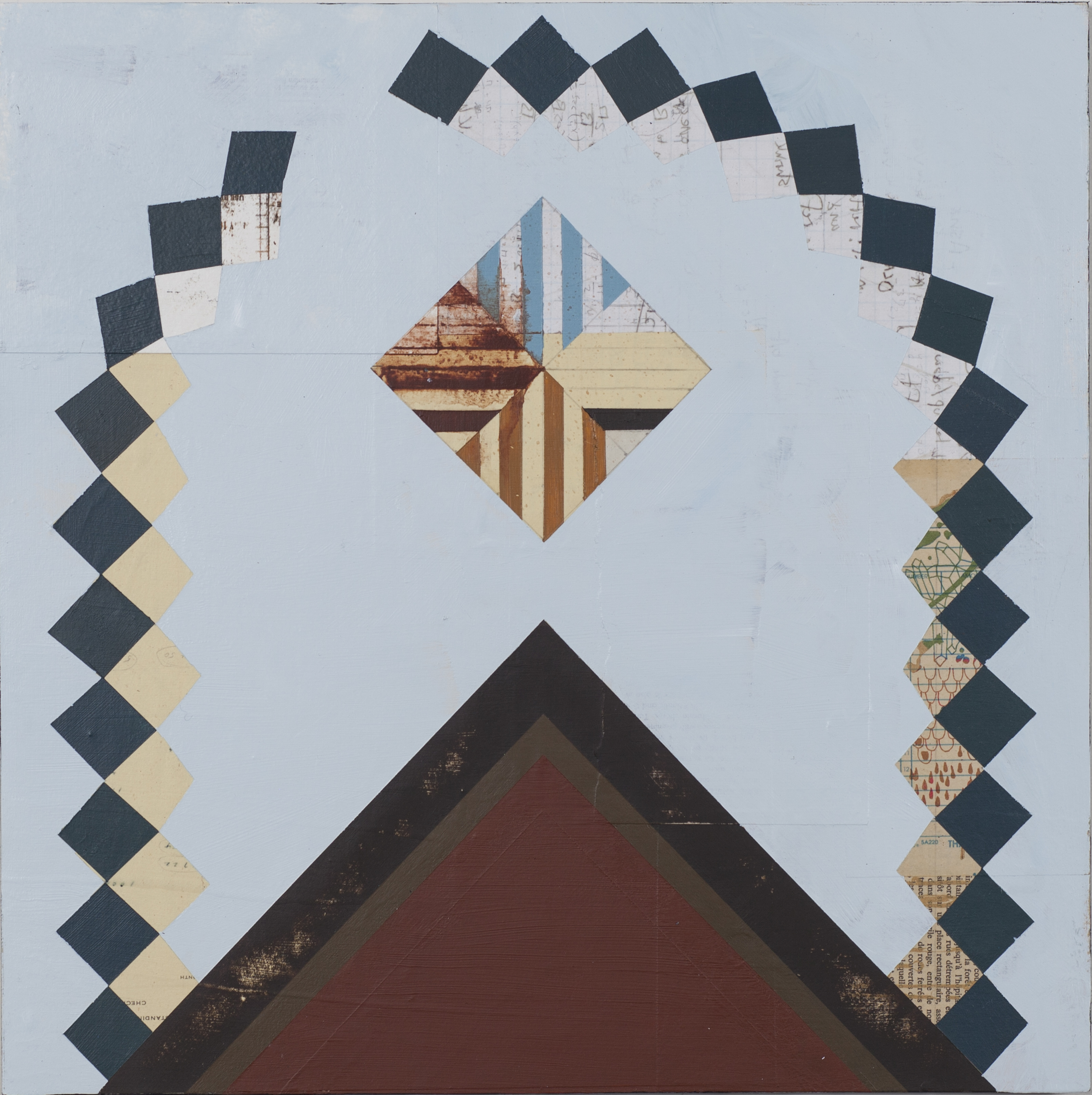 """New Terrain, 16""""x16"""", acrylic and collage on wood panel, 2013"""