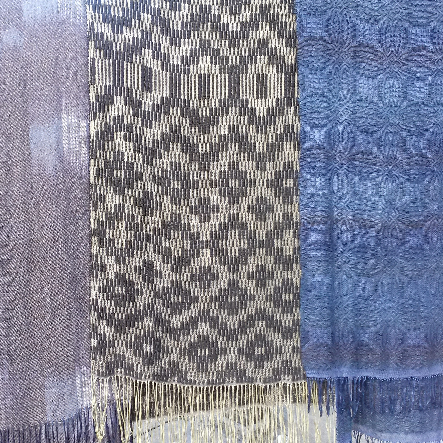 Hand dyed, handwoven cotton and wool