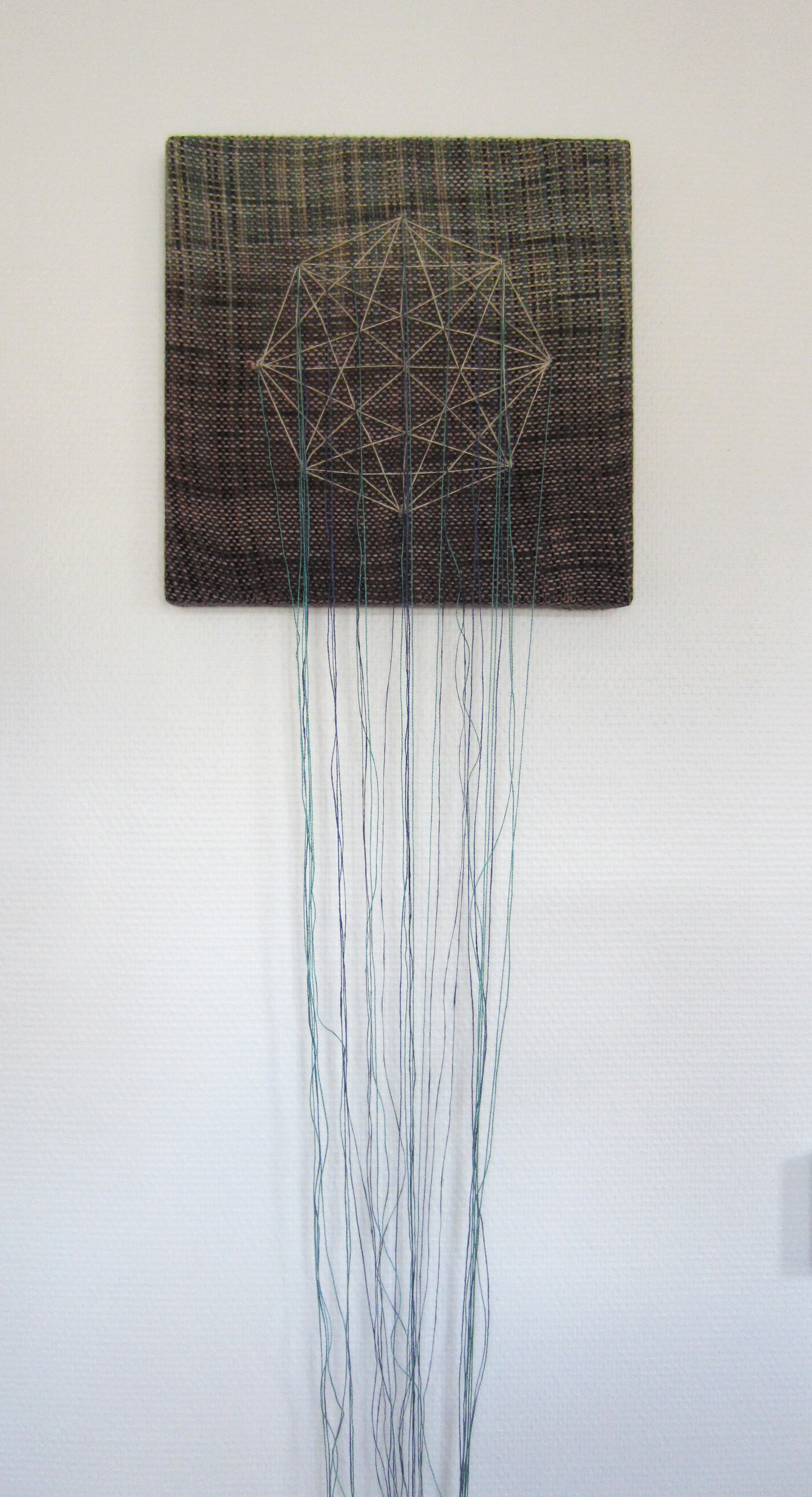 Marianna, 2016, Hand dyed, handwoven fabric with embroidery on 30cm x 30cm wood panel