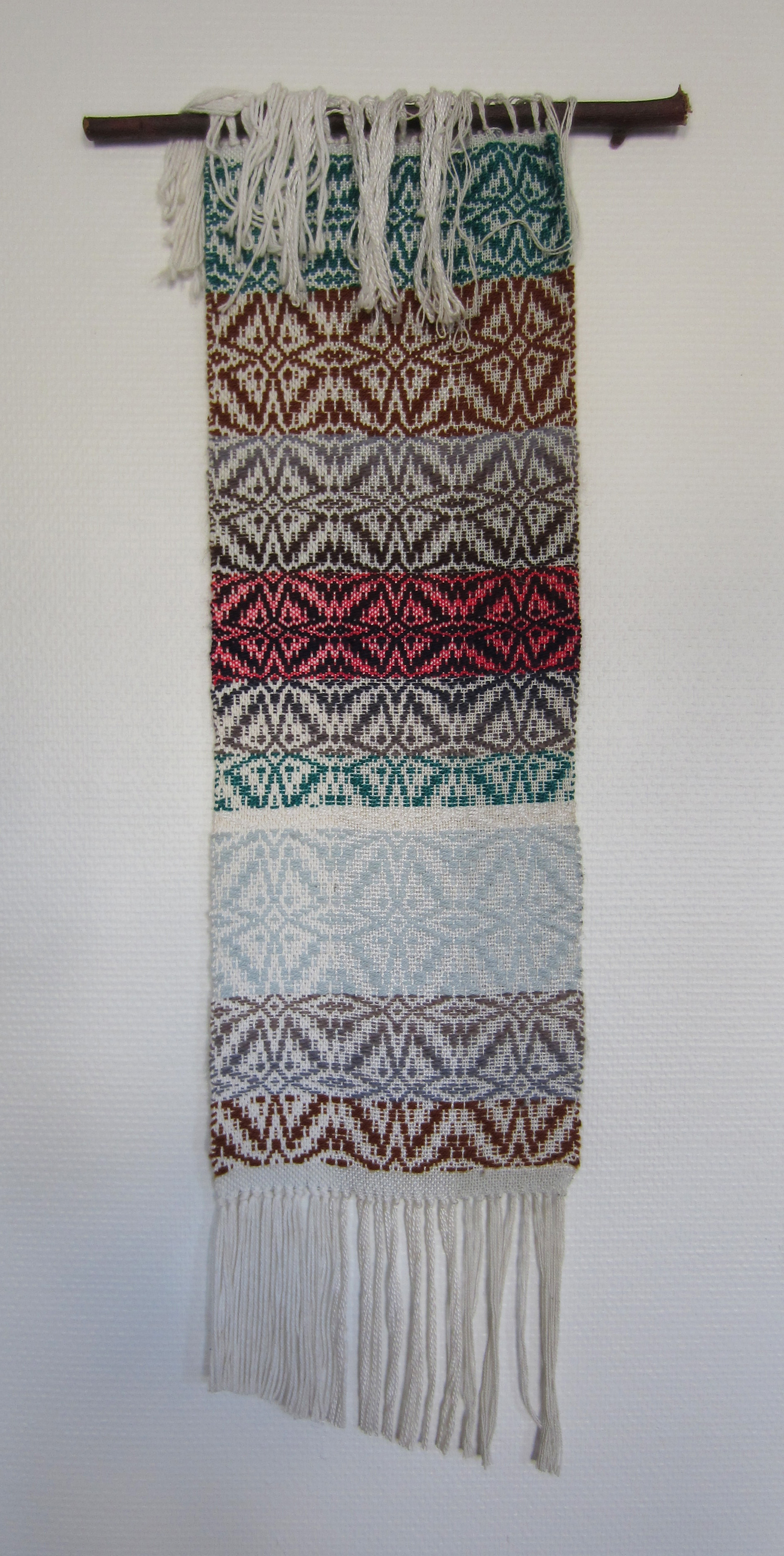 Natural Frequency, 2014, handwoven mixed fibers 36cm x 86cm