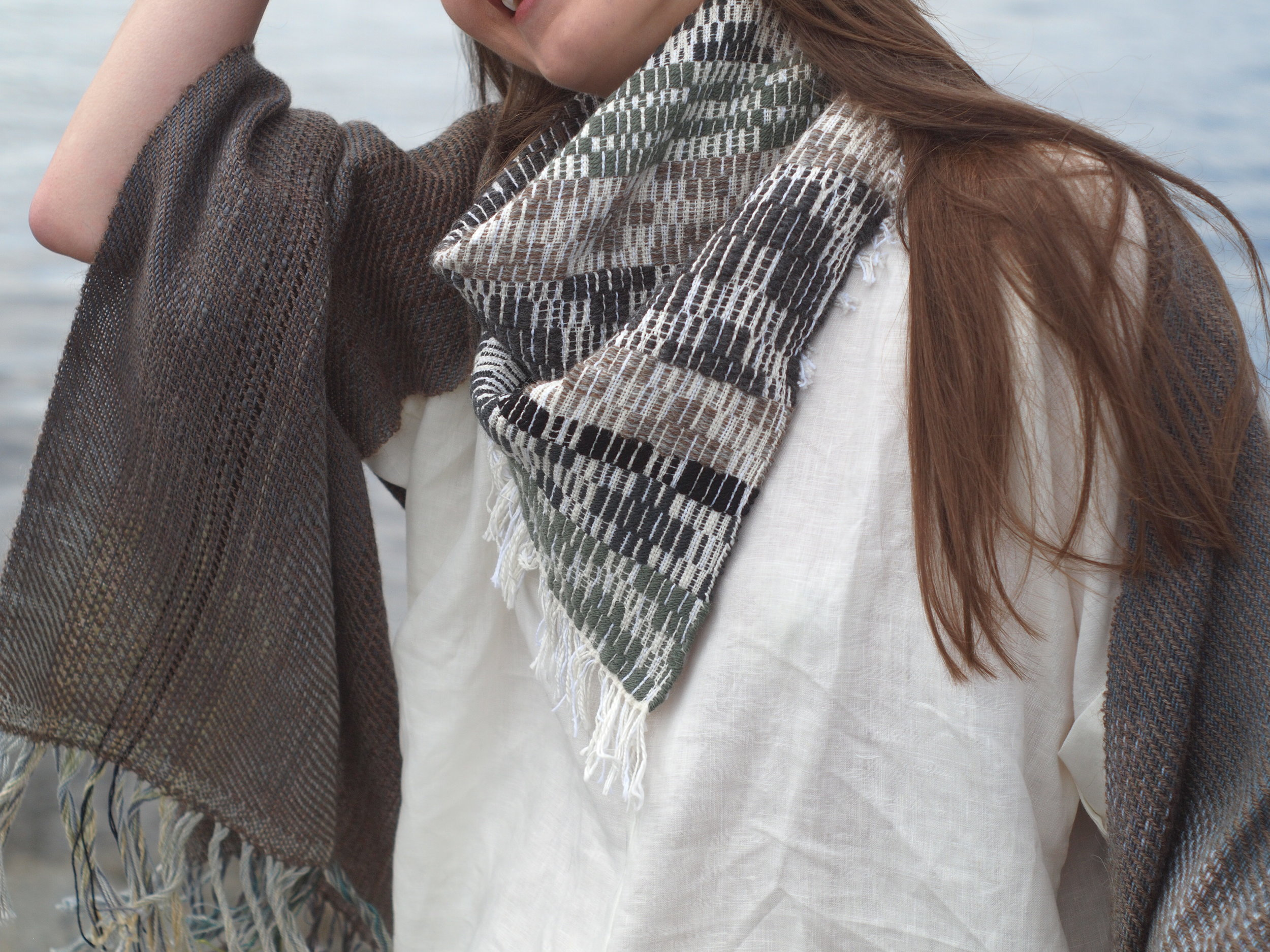 Handwoven scarves, 2015 - wool, baby alpaca and hand-dyed cotton