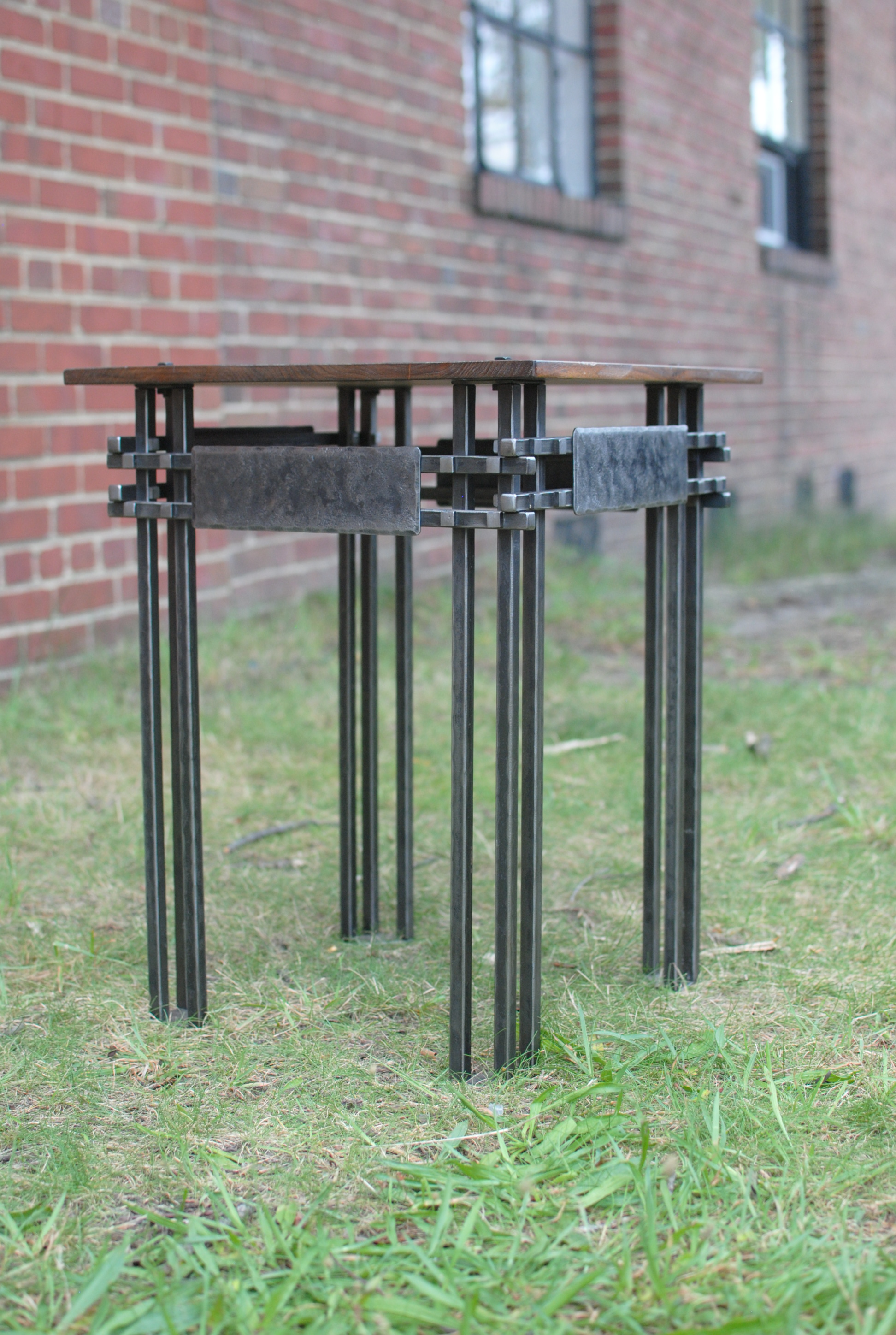 End Table with steel base