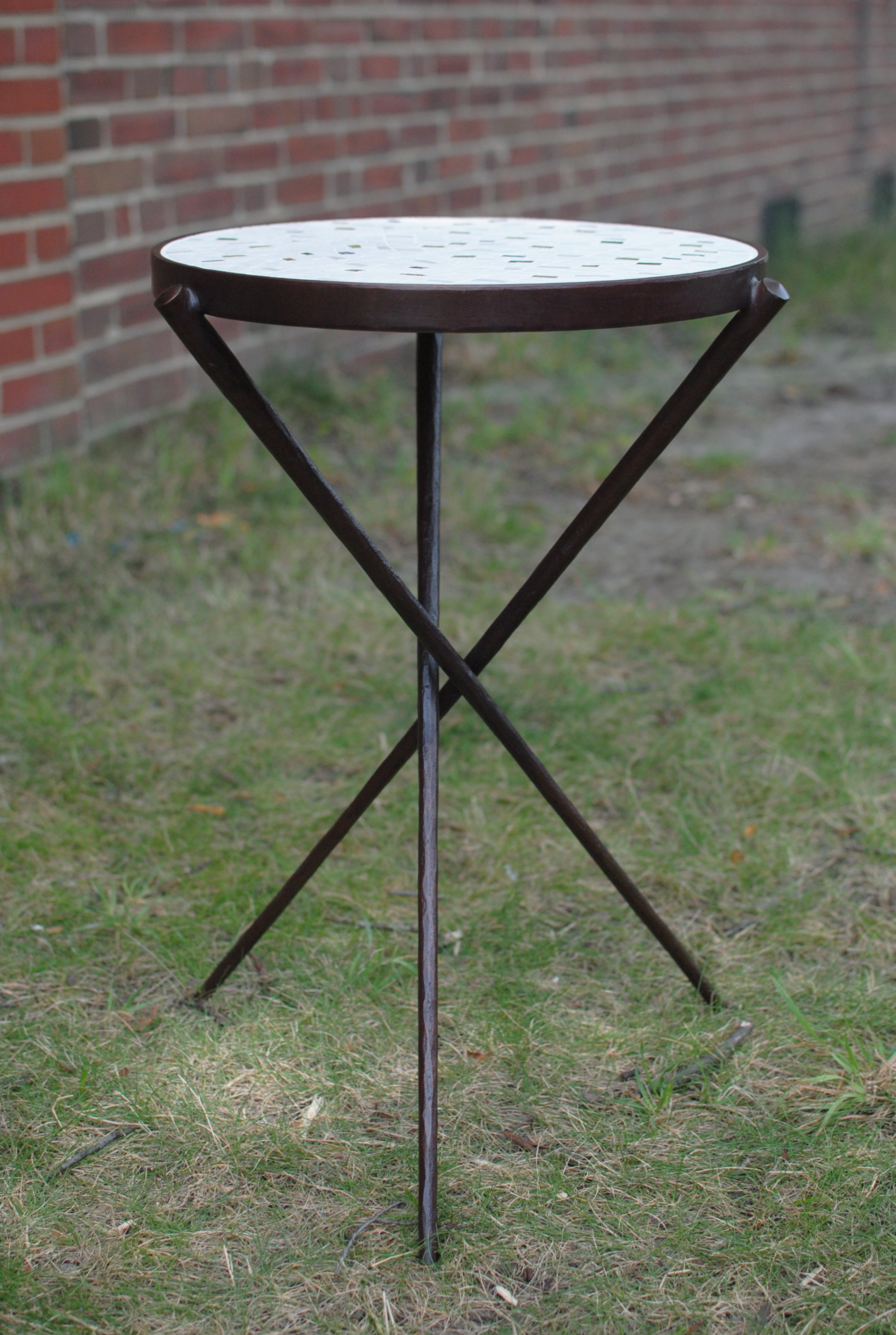 Side Table with forged steel base