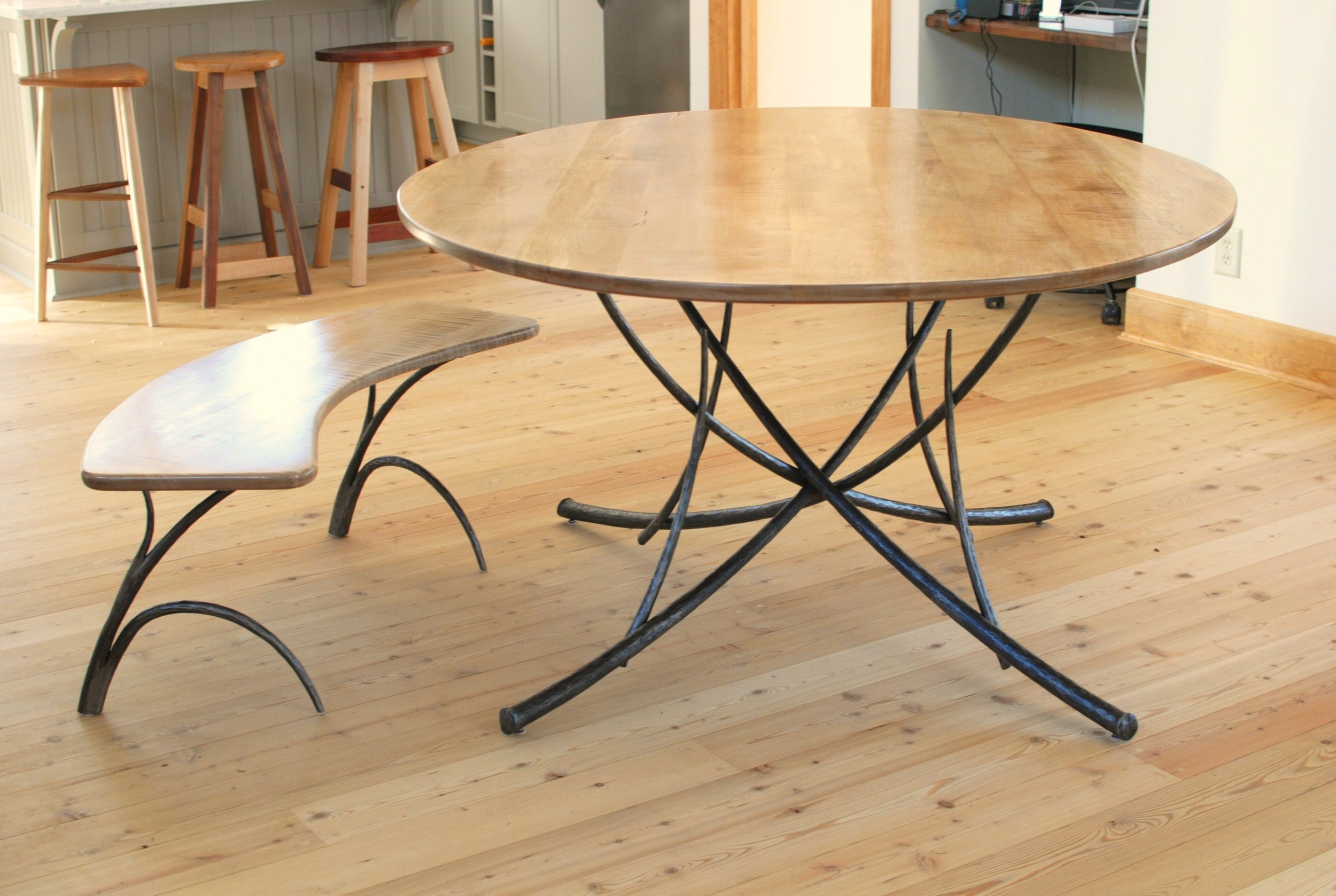 Woodlands dining table & bench with forged steel bases