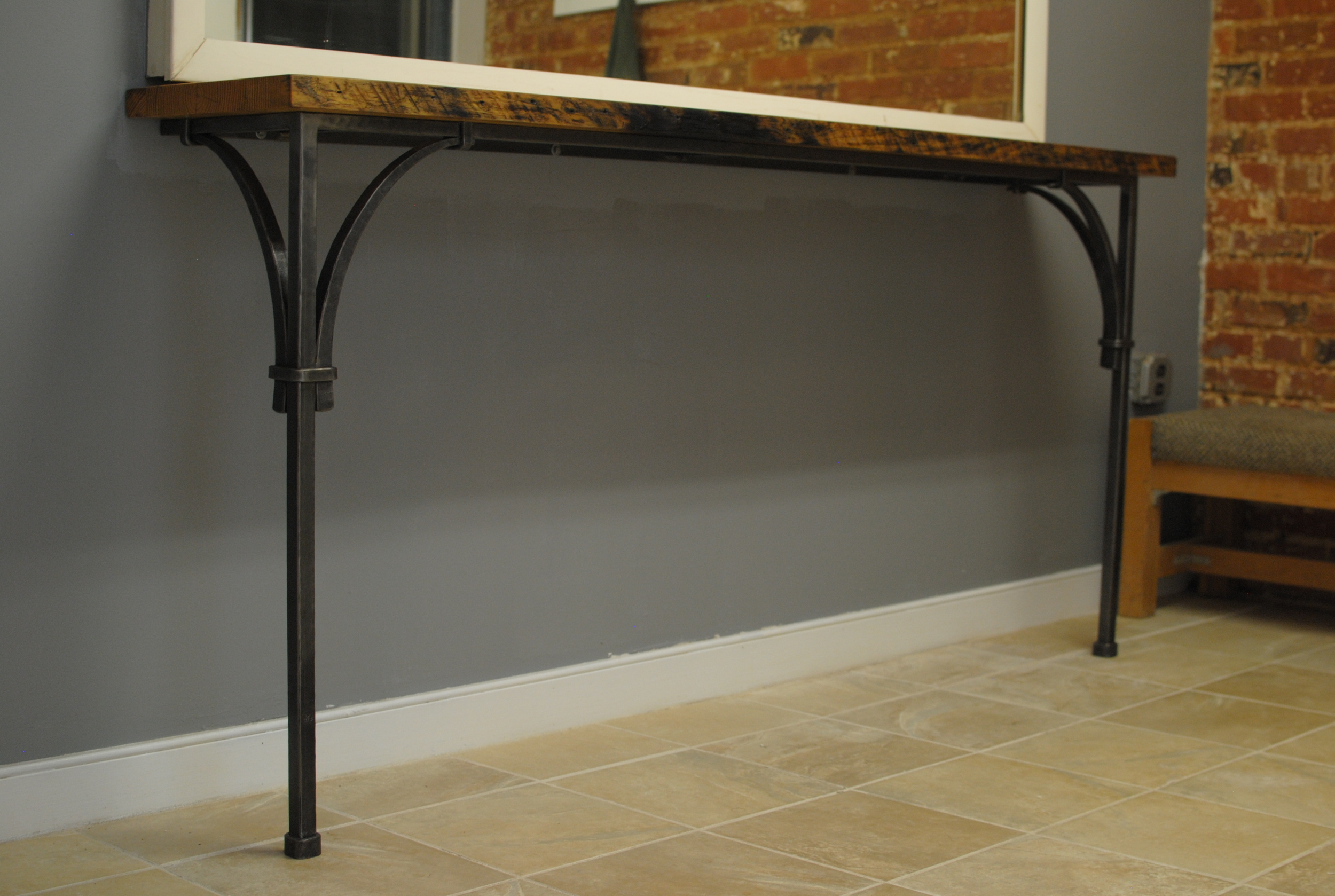Console Table with forged steel base