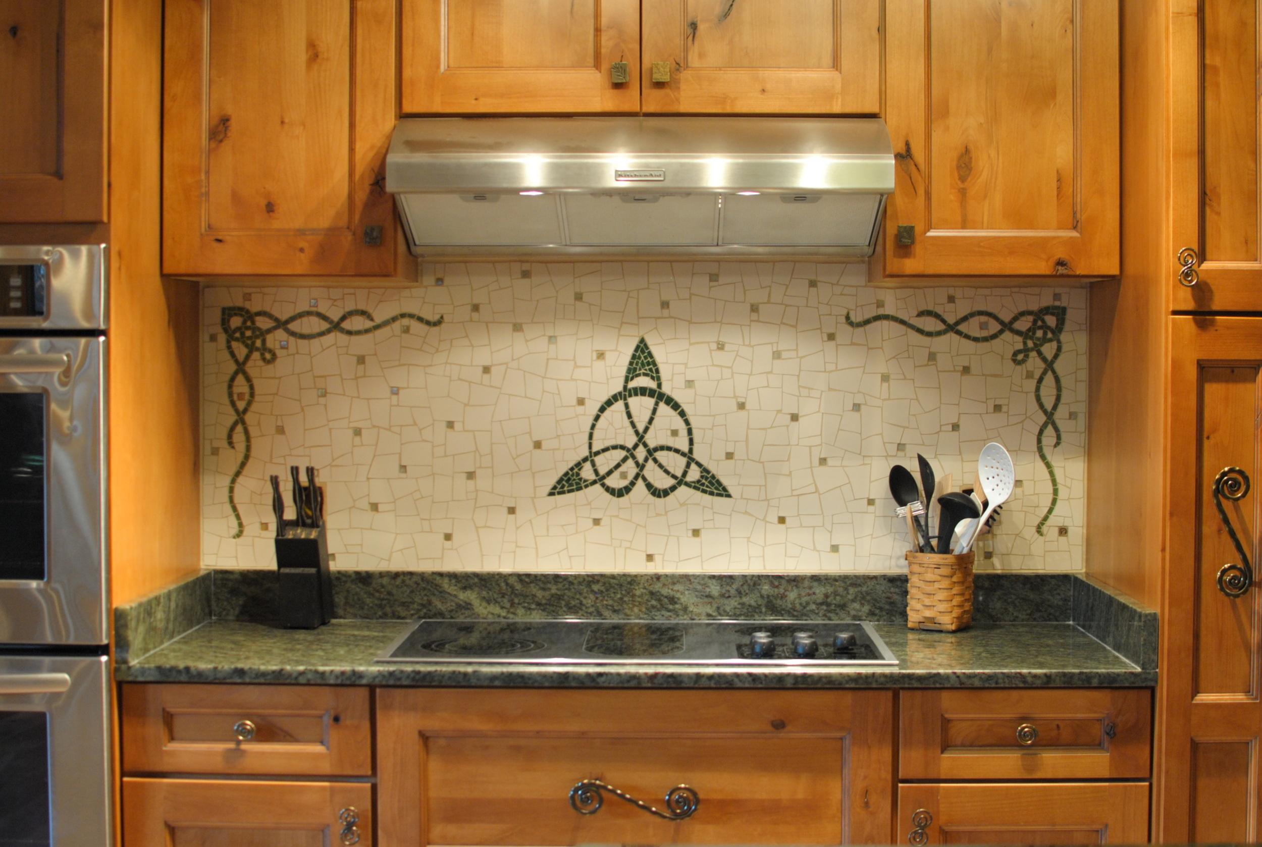 Celtic mosaic kitchen backsplash