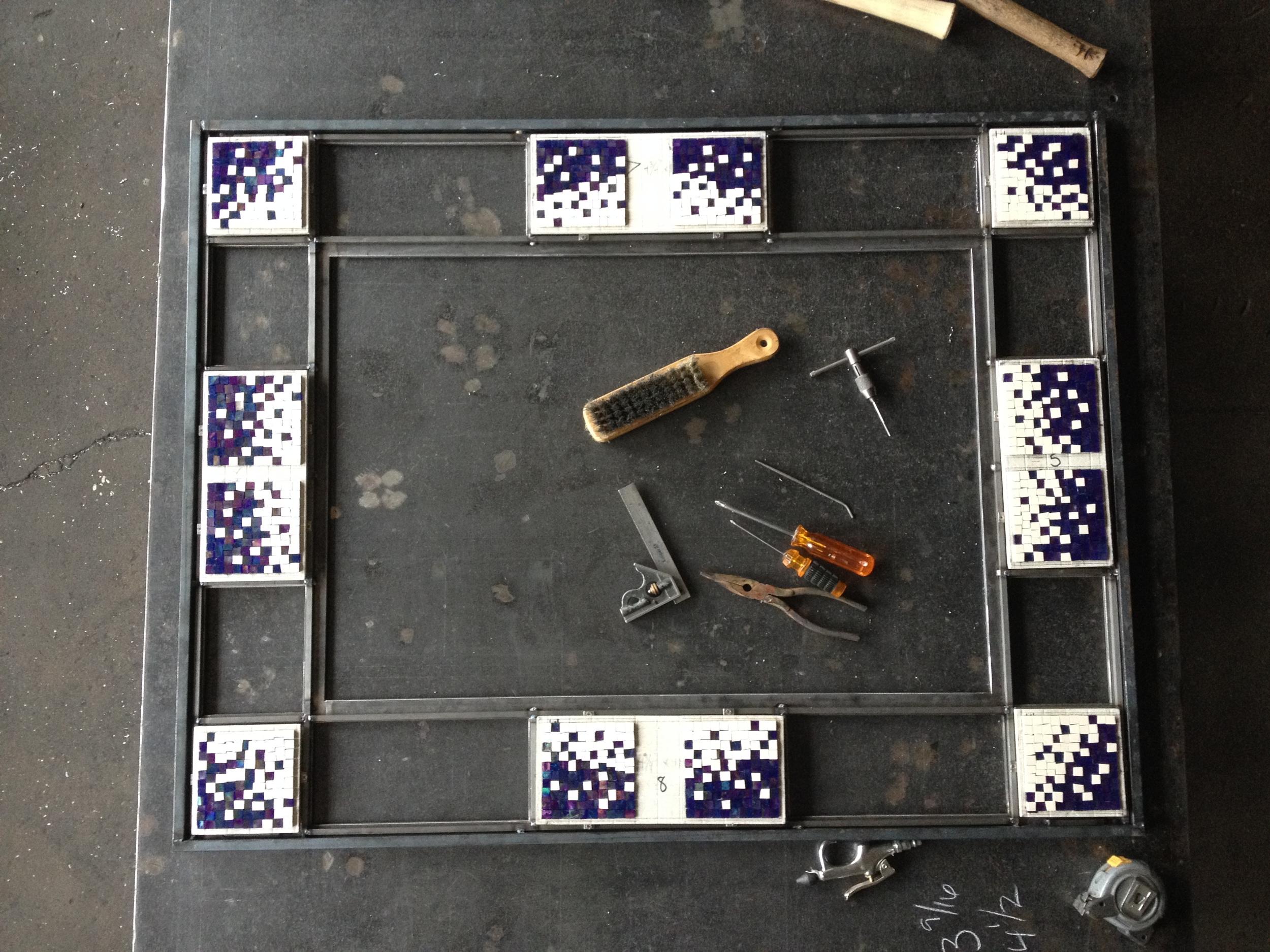 Custom mosaic firescreen in process