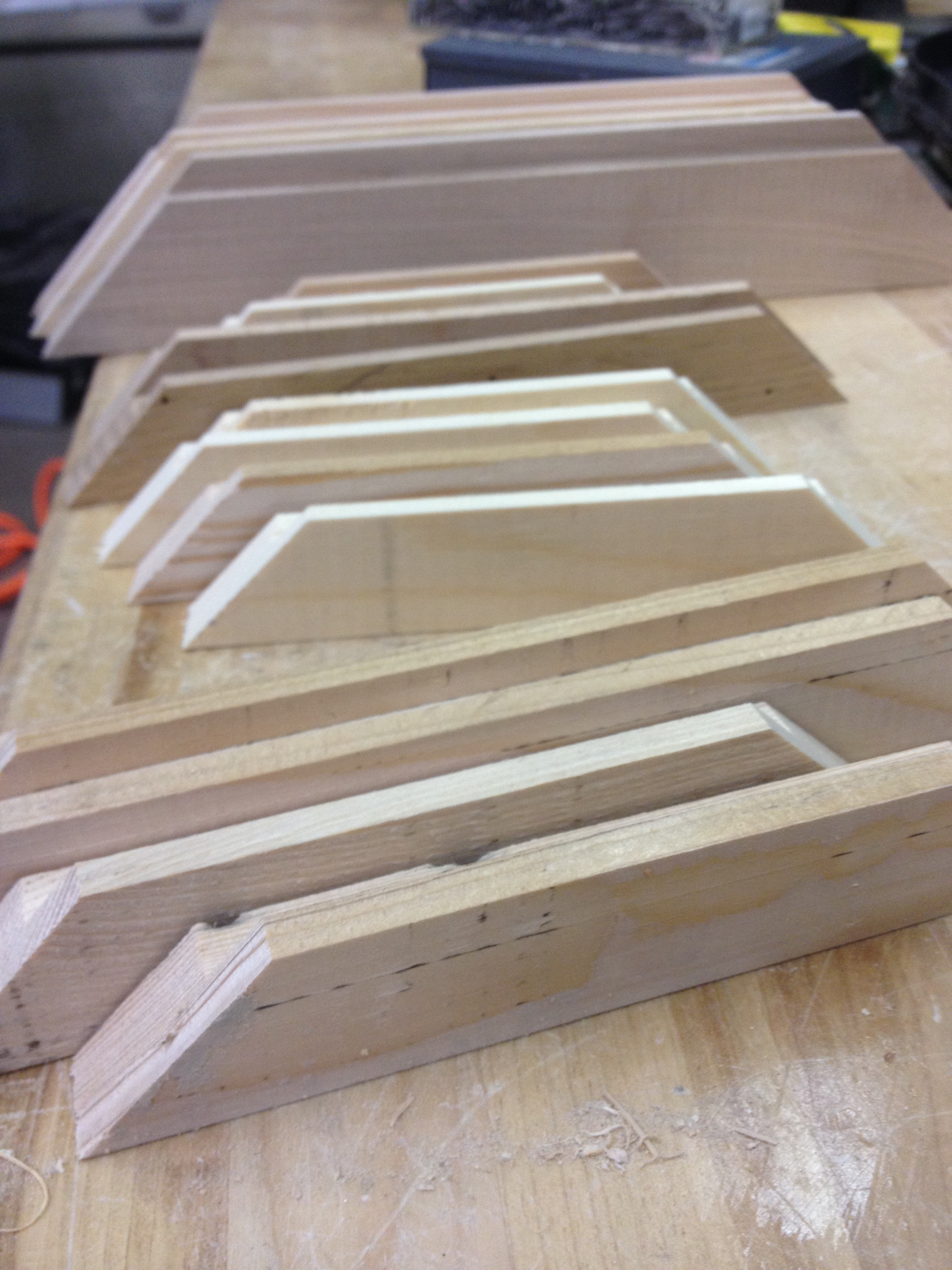 Reclaimed wood picture frame parts in several sizes.
