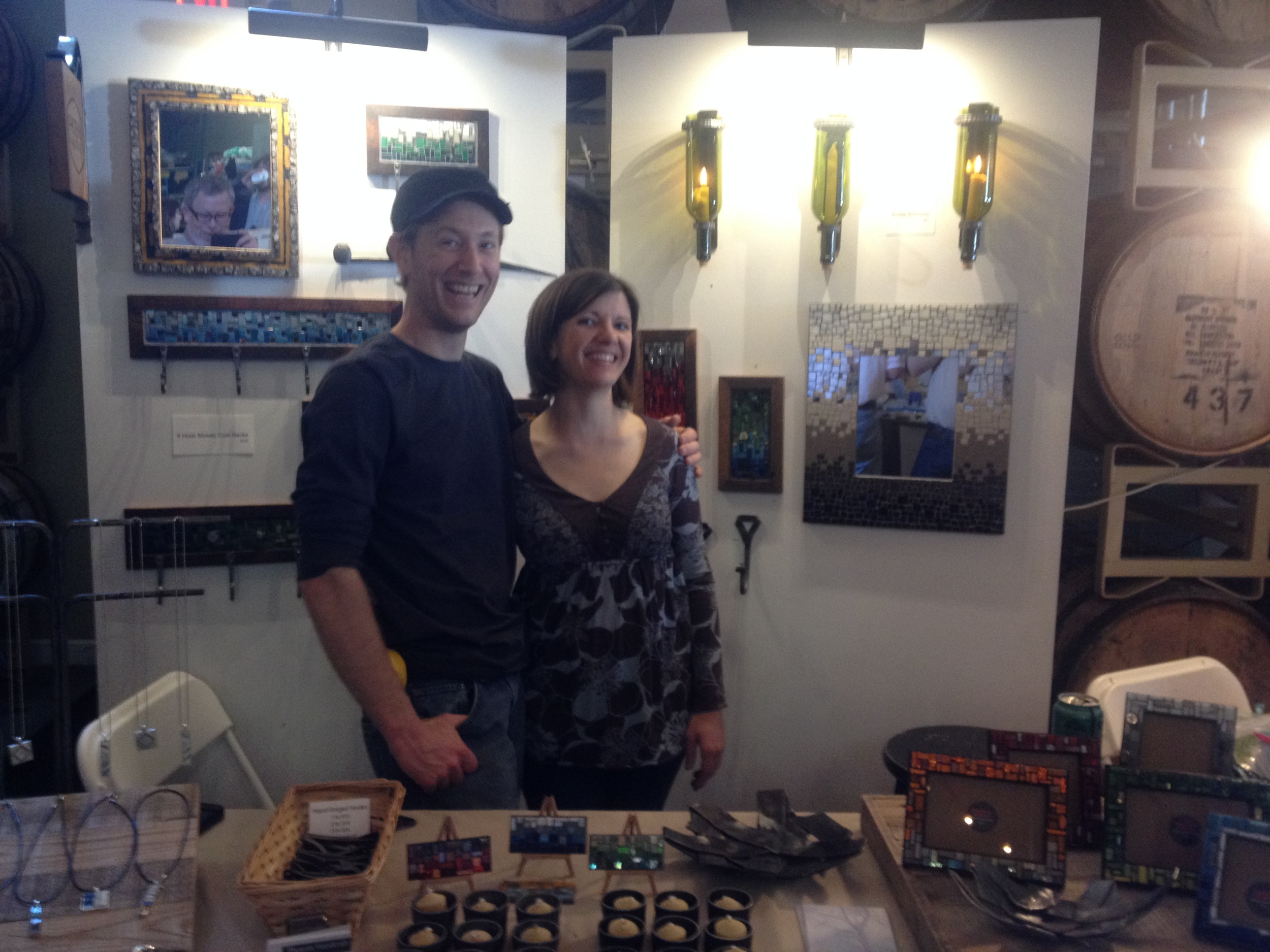 Our booth neighbor from  Zou Zou's Basement  snapped this shot of the two of us in our booth at  Spring Bada Bing . We had lots of fun at this busy craft show and look forward to more shows with  Richmond Craft Mafia .
