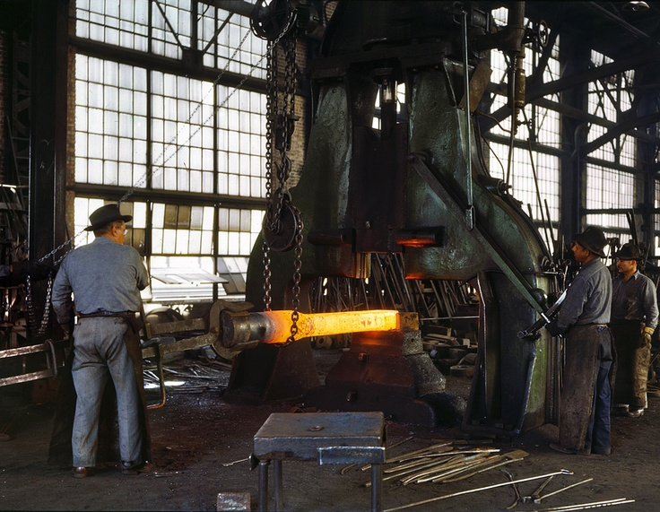 Steam hammer, 1943, photo by Jack Delano for the Office of War Information