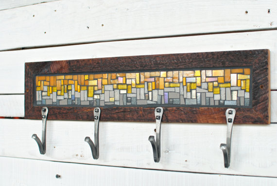 Here's a completed (non-custom) coat rack with hooks installed. For more customization fun, we have two styles of hooks: the V on this coat rack, and a more traditional U style.