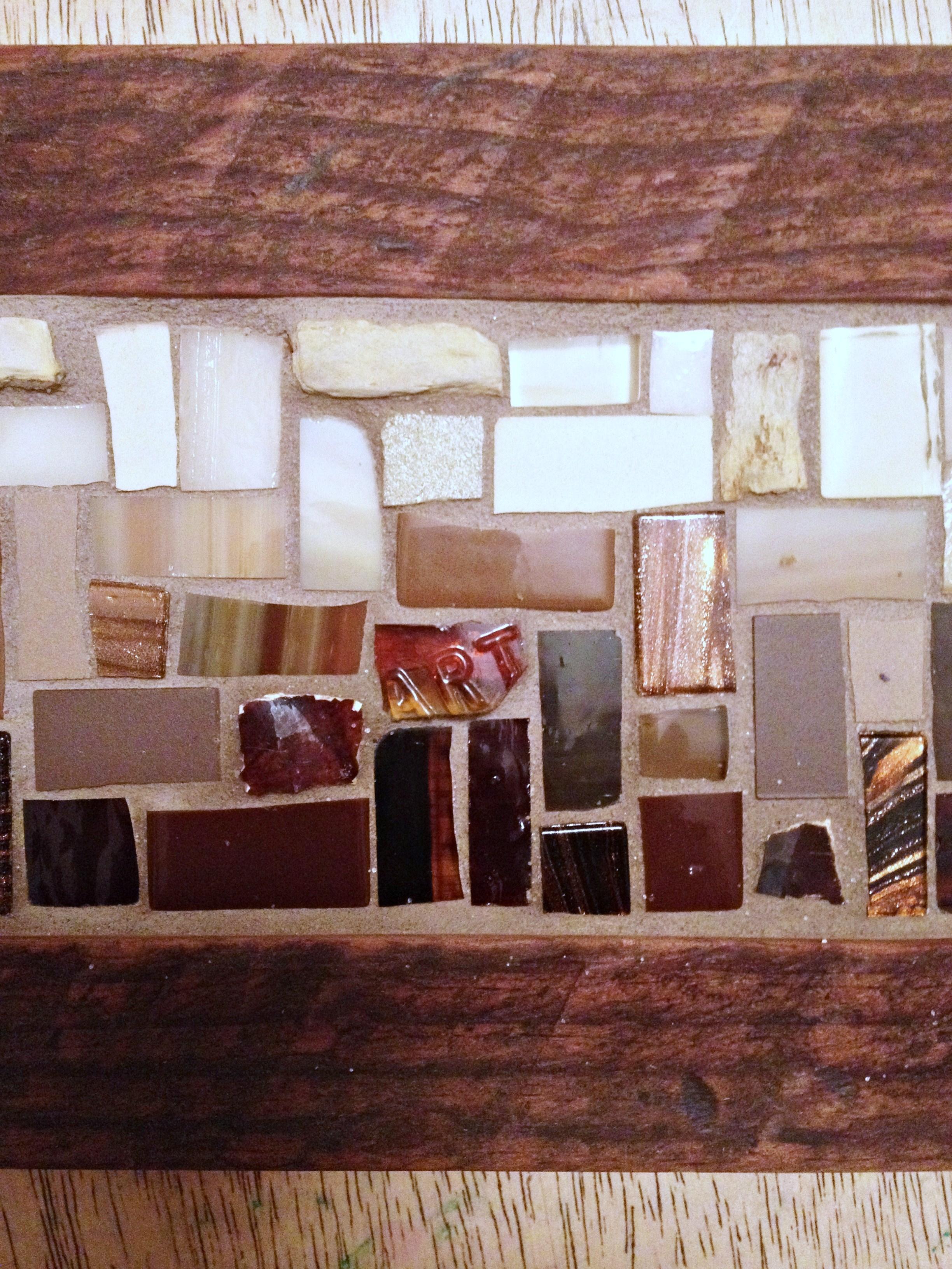 Brown custom mosaic coat rack