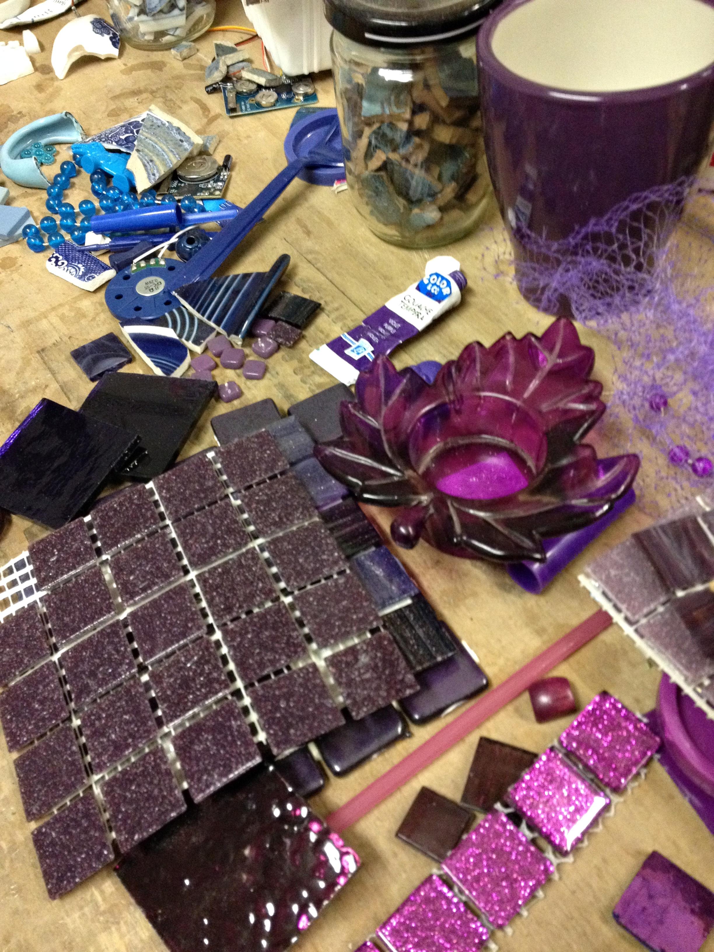 Sorting mosaic material for a custom mosaic coat rack