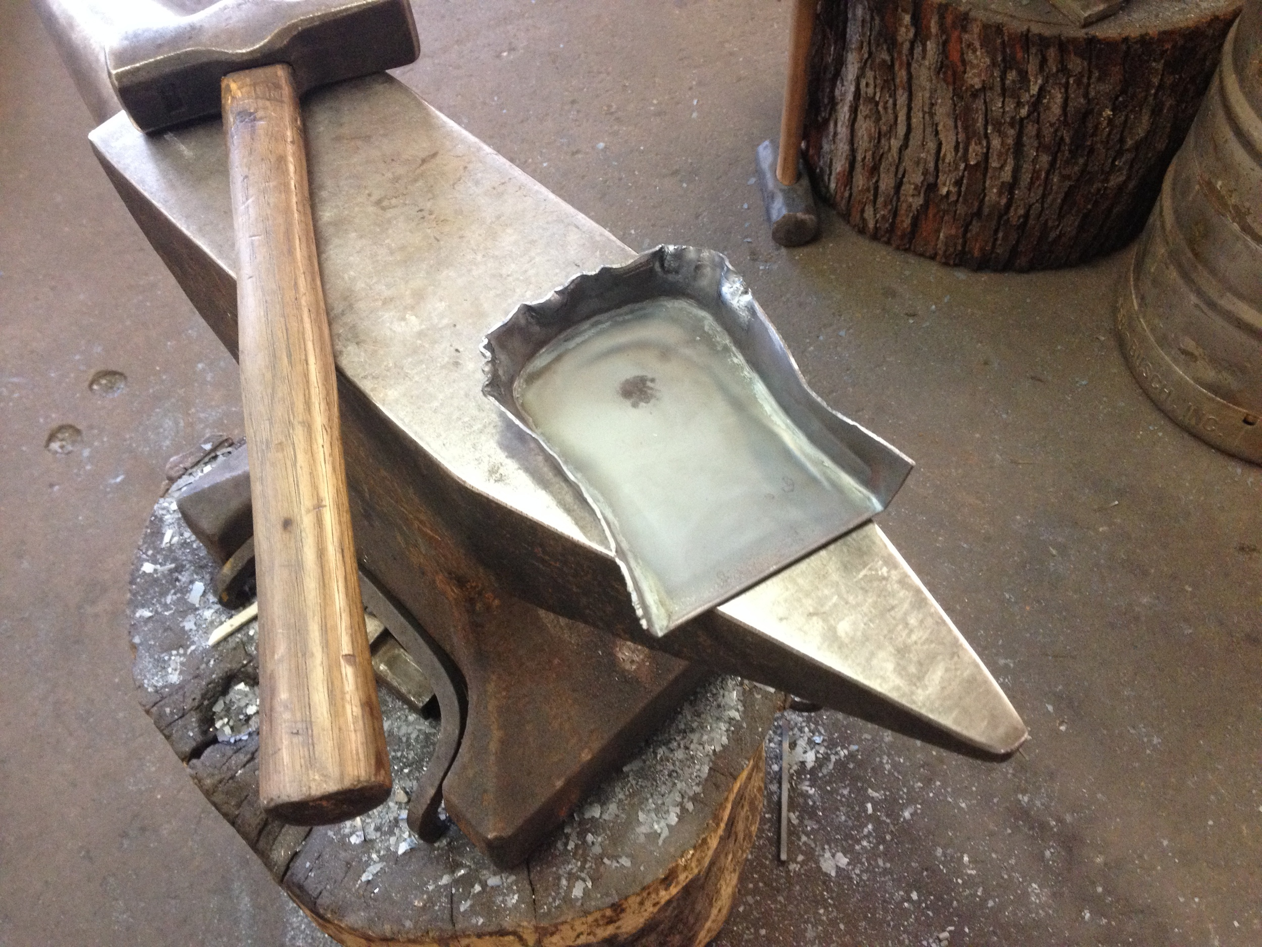 Fireplace shovel in process on the anvil