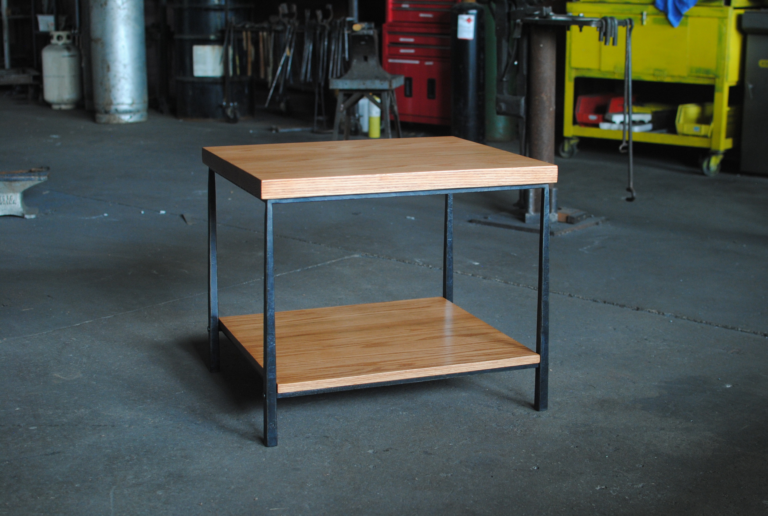 Small Media Table with forged steel base