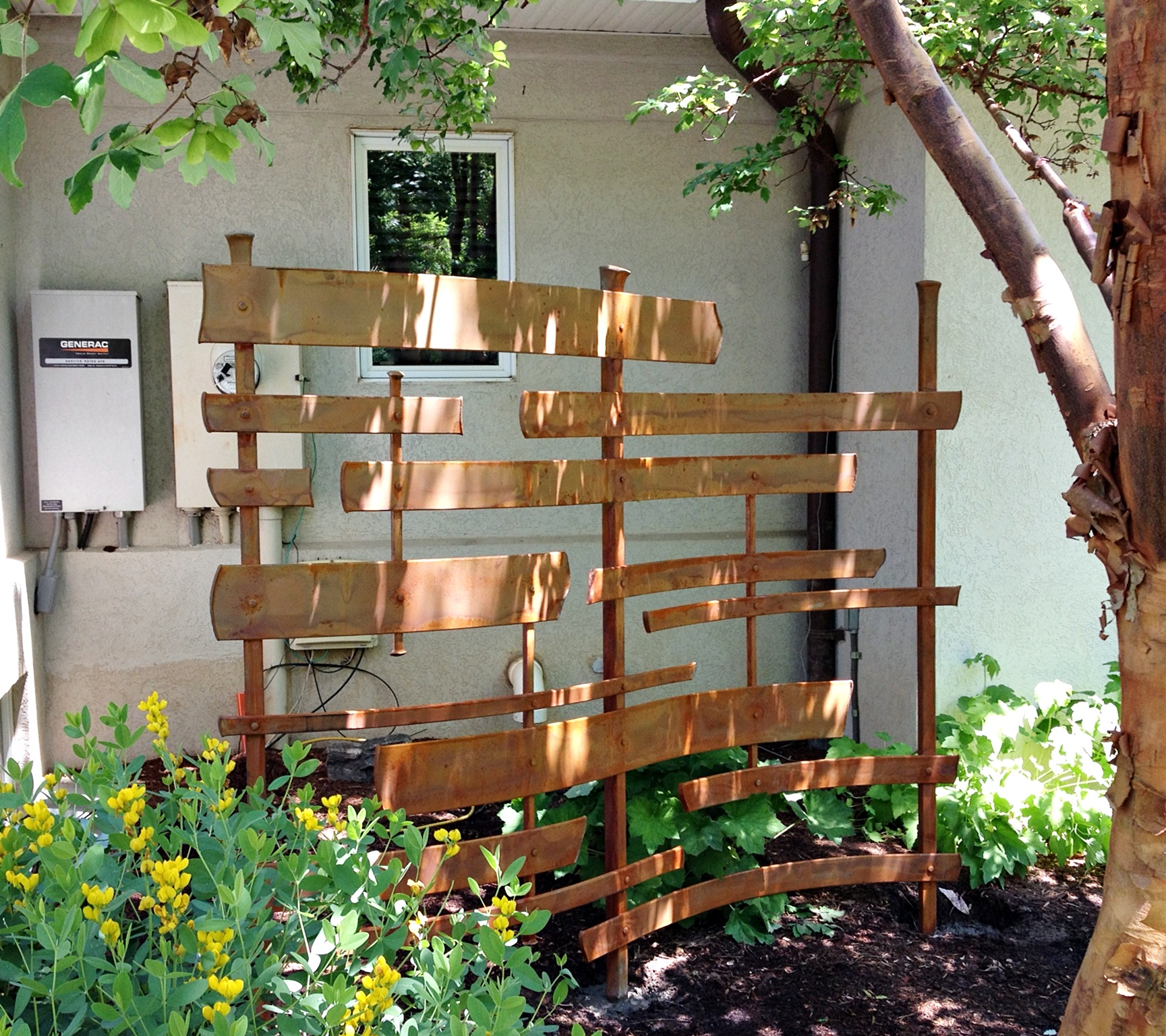 Custom hand forged sculptural garden screen