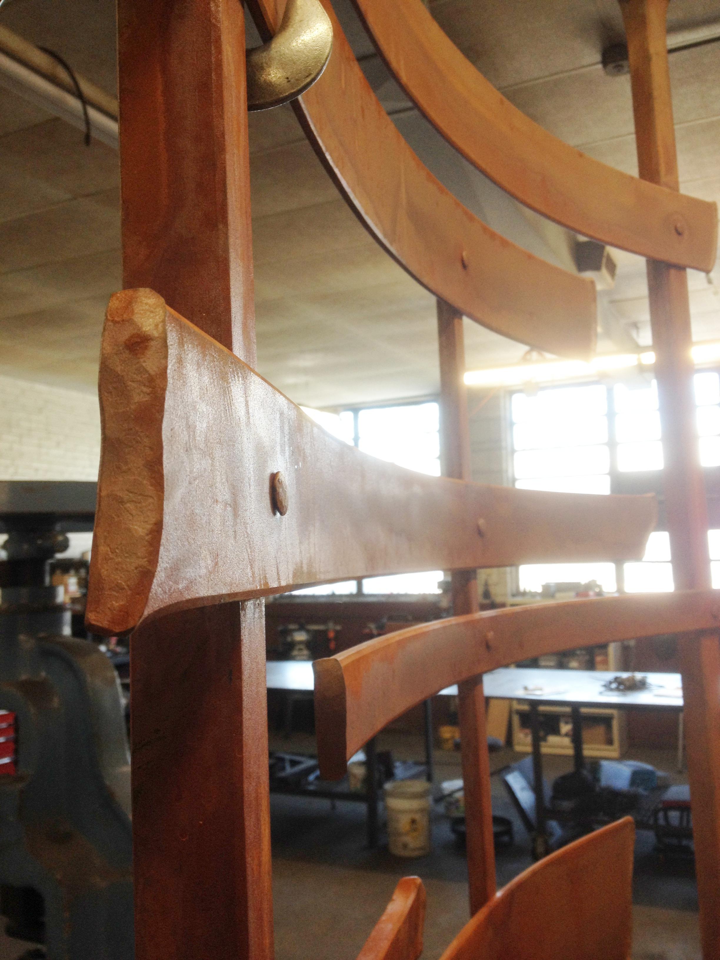 Rust patina detail of the custom hand forged sculptural garden screen