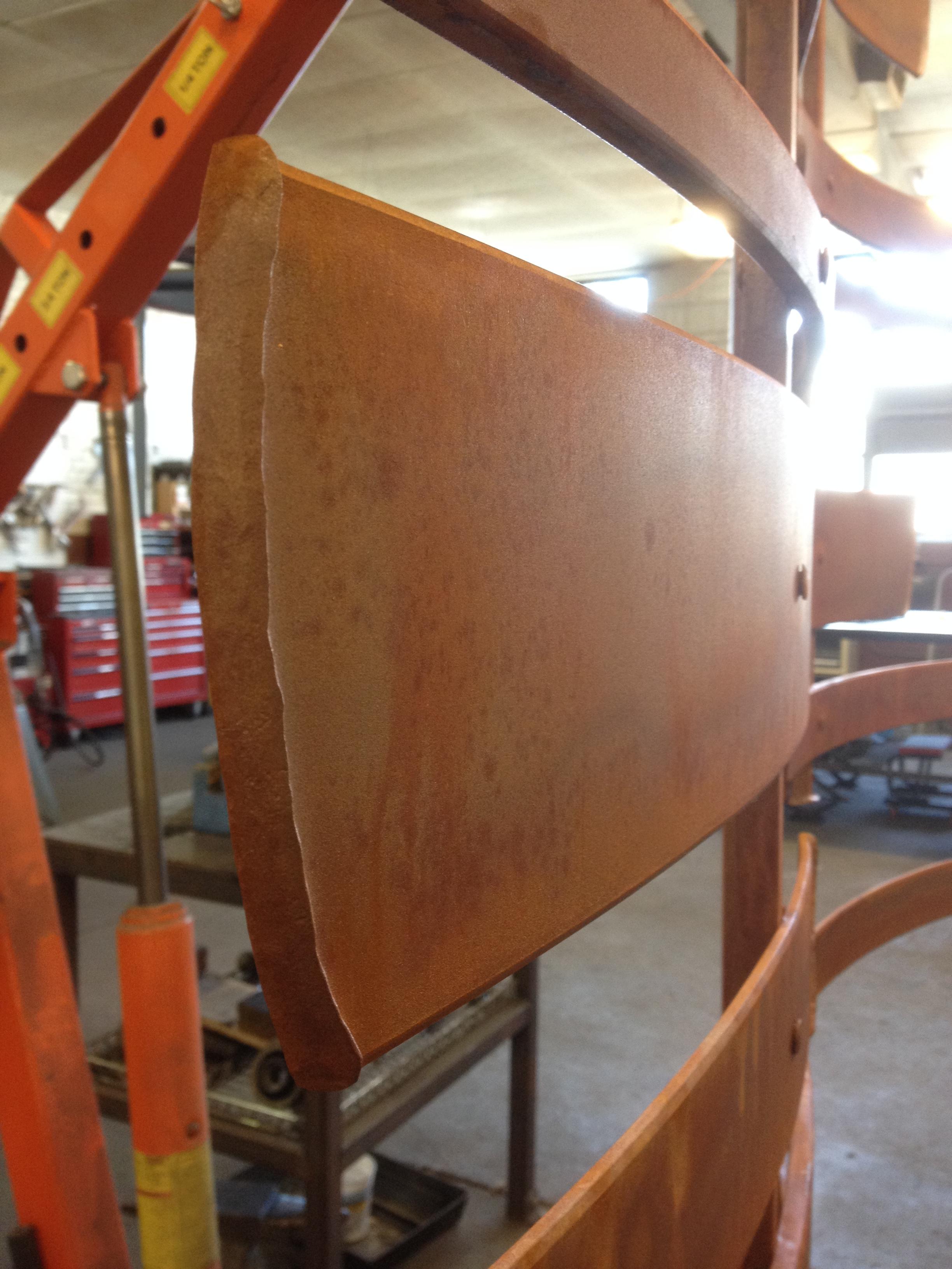Rust patina detail of the custom hand forged garden sculptural screen