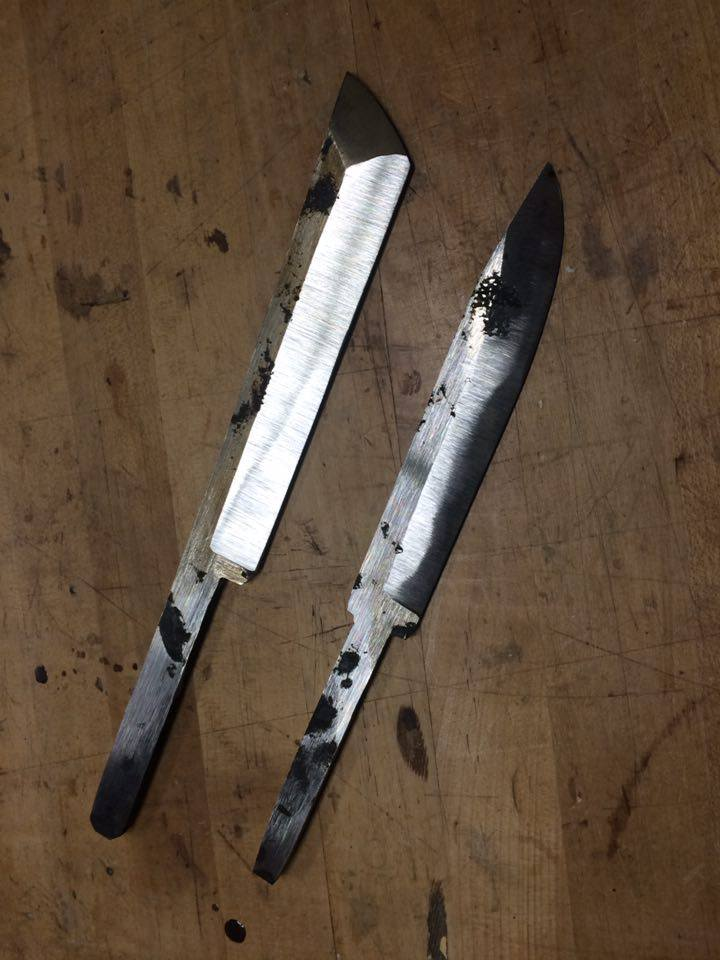 Hand forged damascus knife blanks