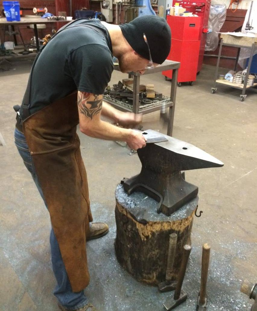 Forging damascus knife blanks on the anvil