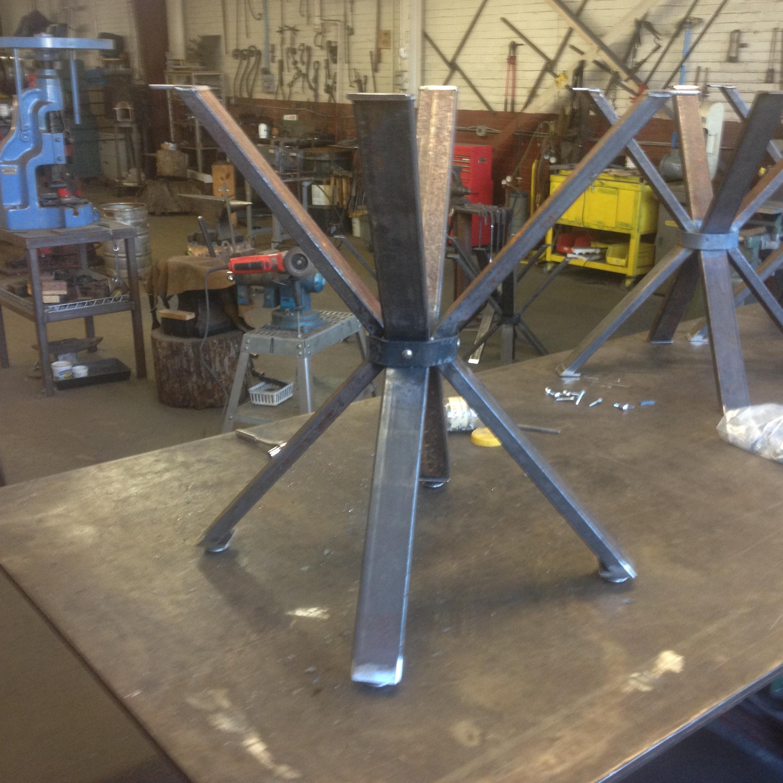 Custom cafe table in progress in the metal studio