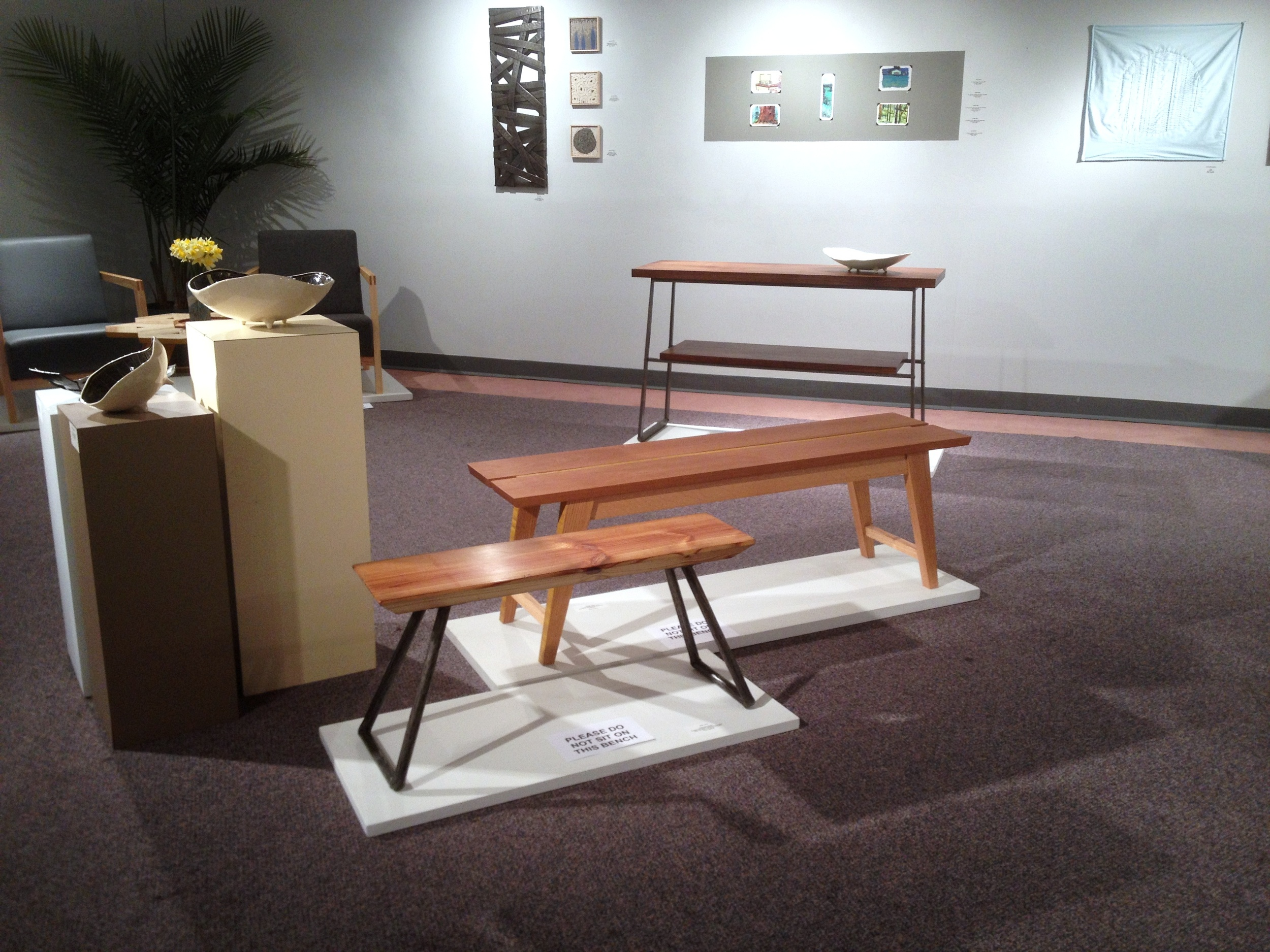 Heart pine and forged steel bench at GROWTH group show