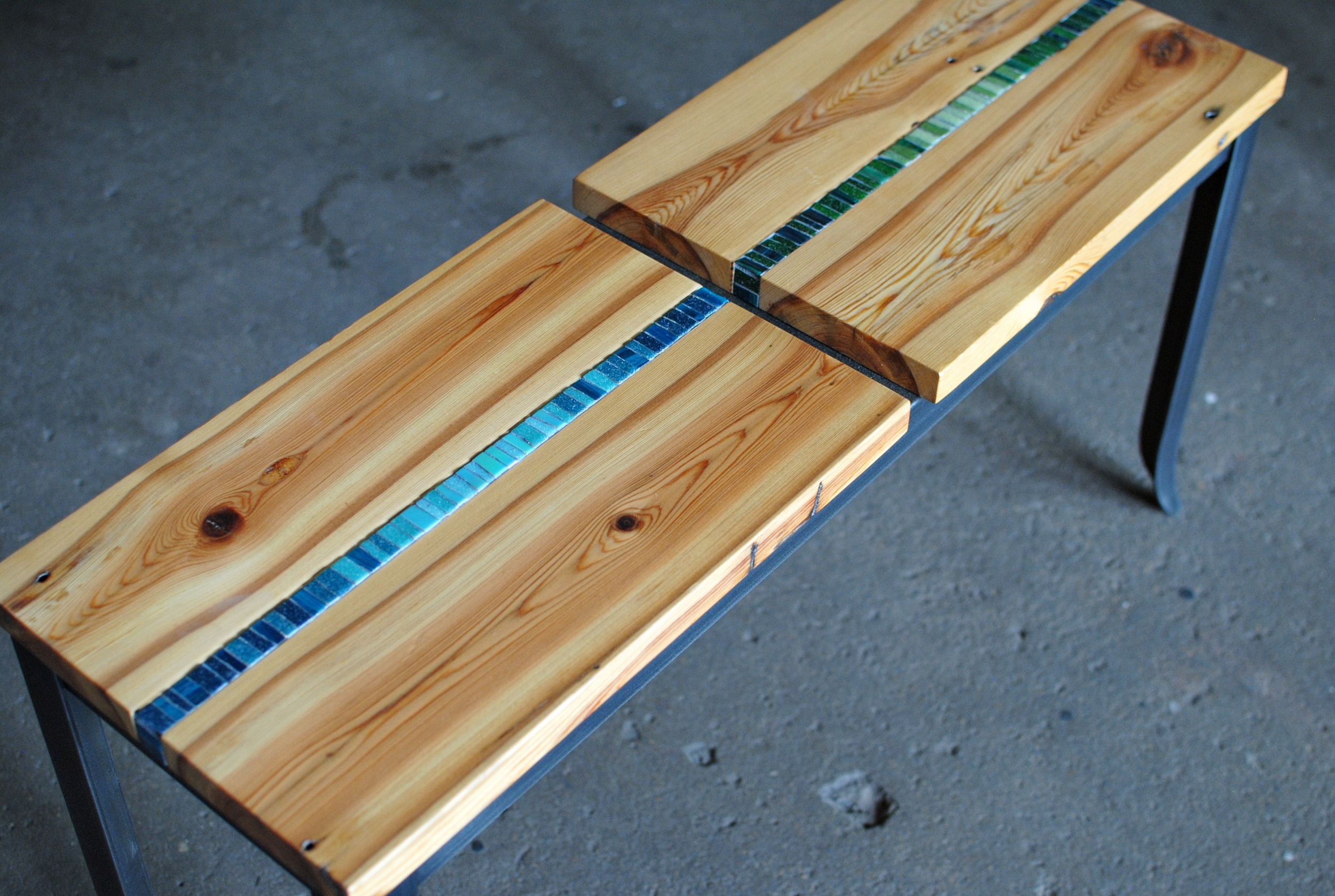 Mosaic Bench with reclaimed heart pine seat with mosaic inlay and forged steel legs