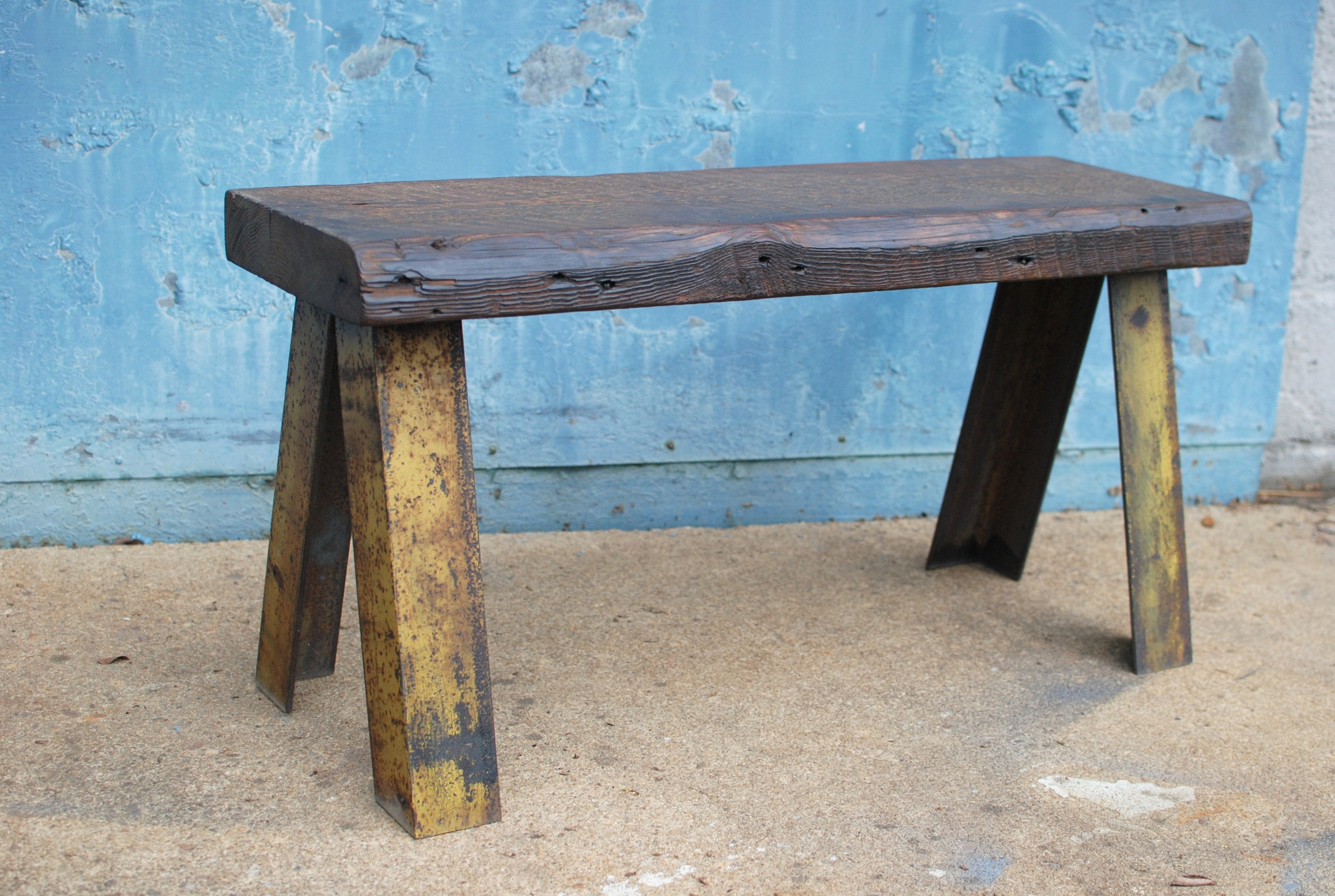 Shockoe Bench made from reclaimed wood and steel