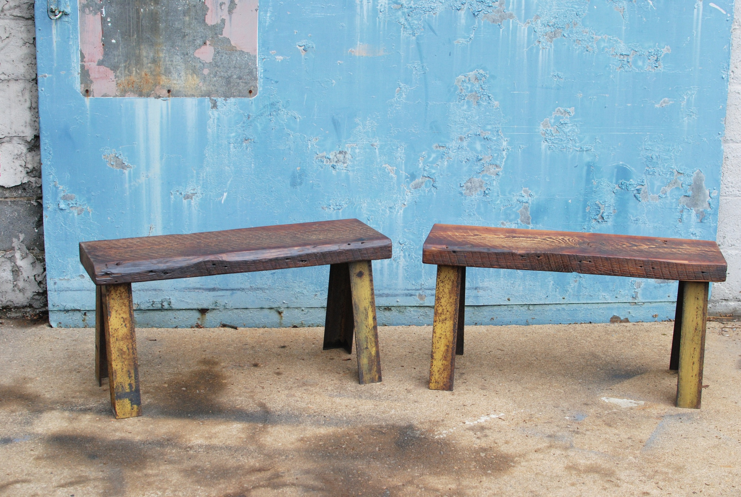 Shockoe Bench with reclaimed wood seat and reclaimed metal legs