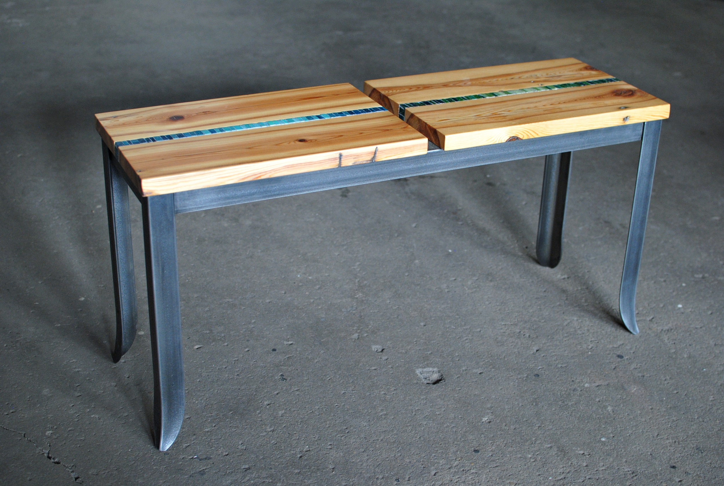 Mosaic Bench with reclaimed heart pine seat and forged steel base