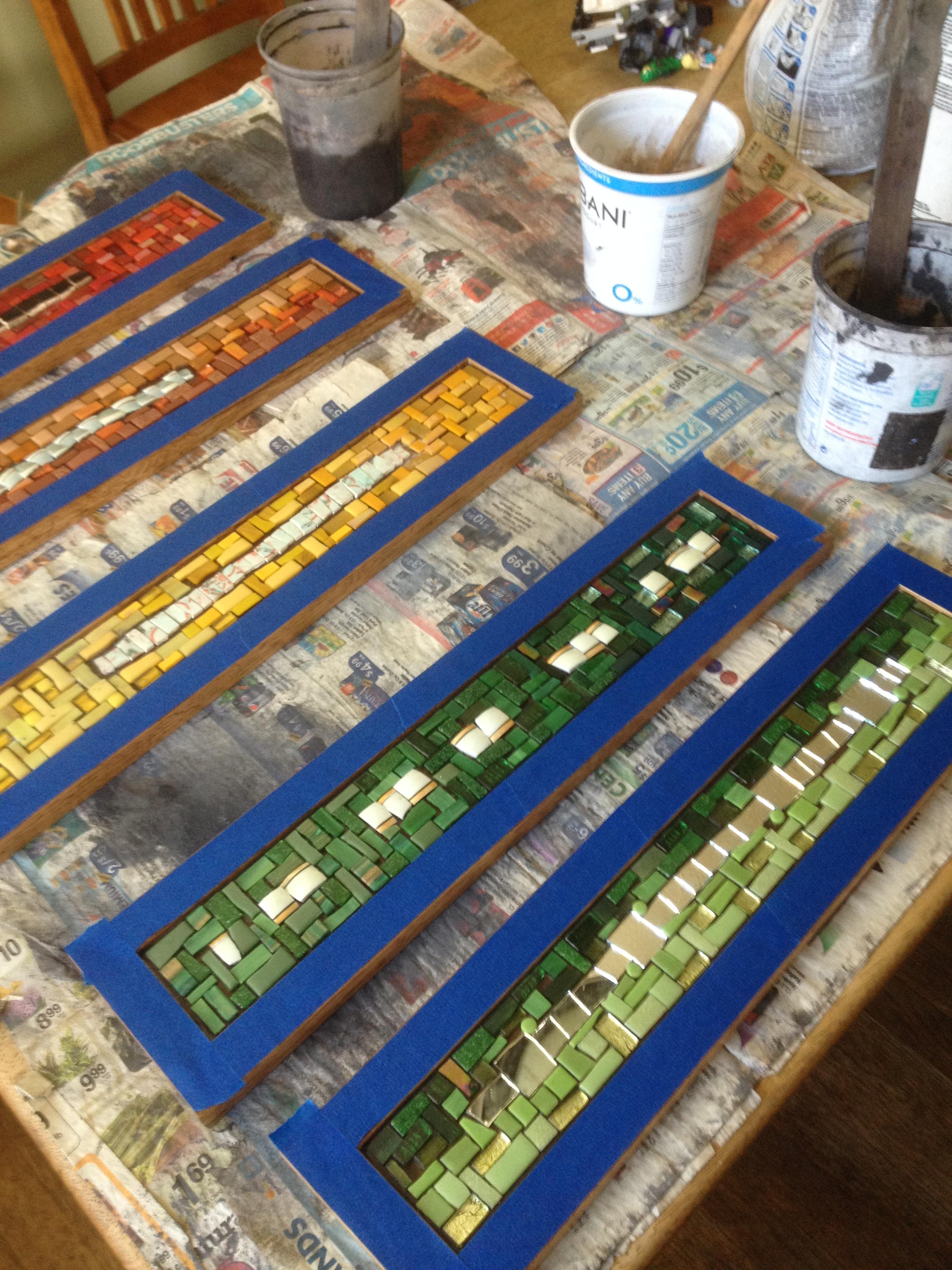 Grouting mosaic coat racks