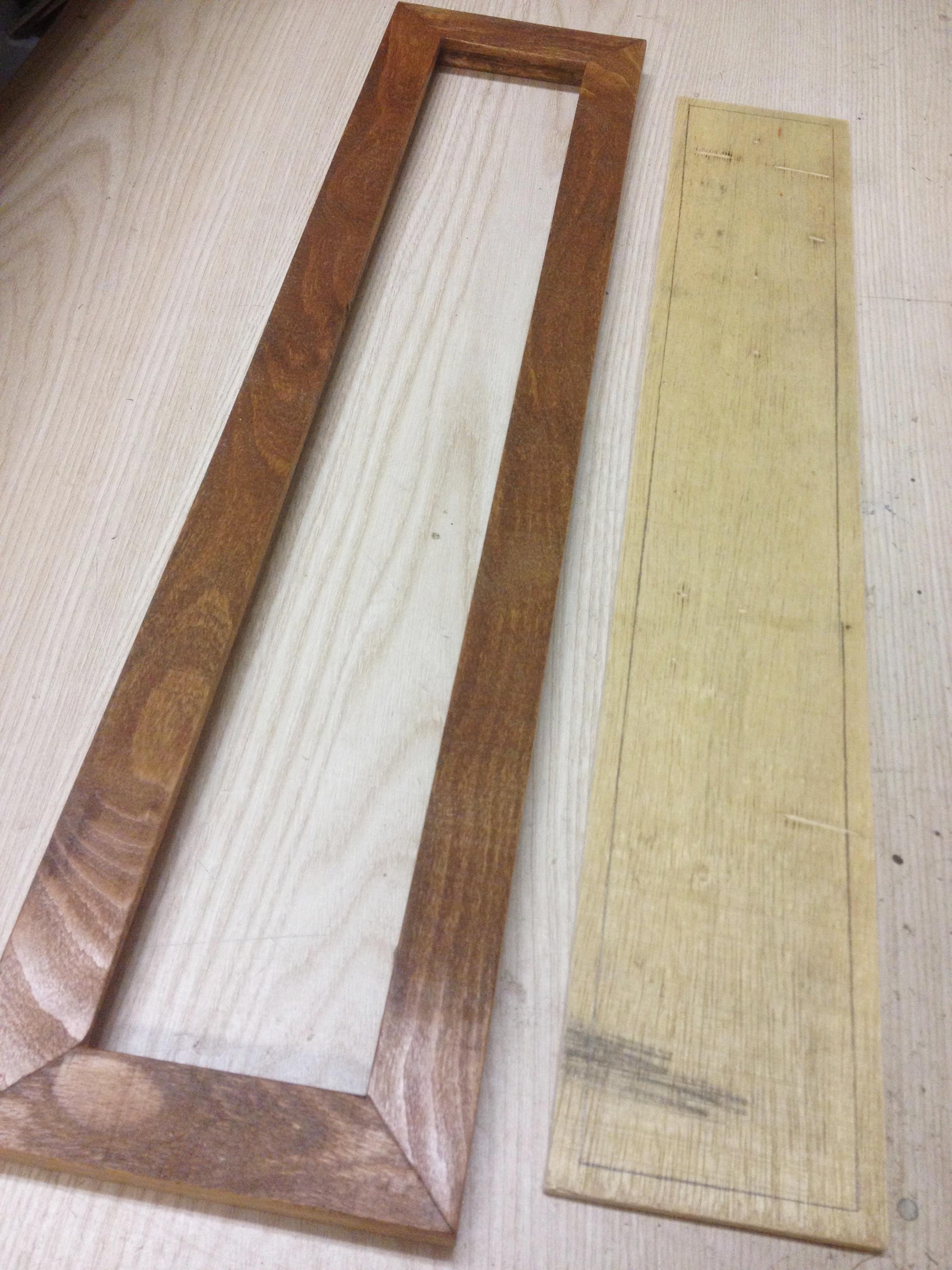 Handmade frame and prepared mosaic backer board for a mosaic coat track,