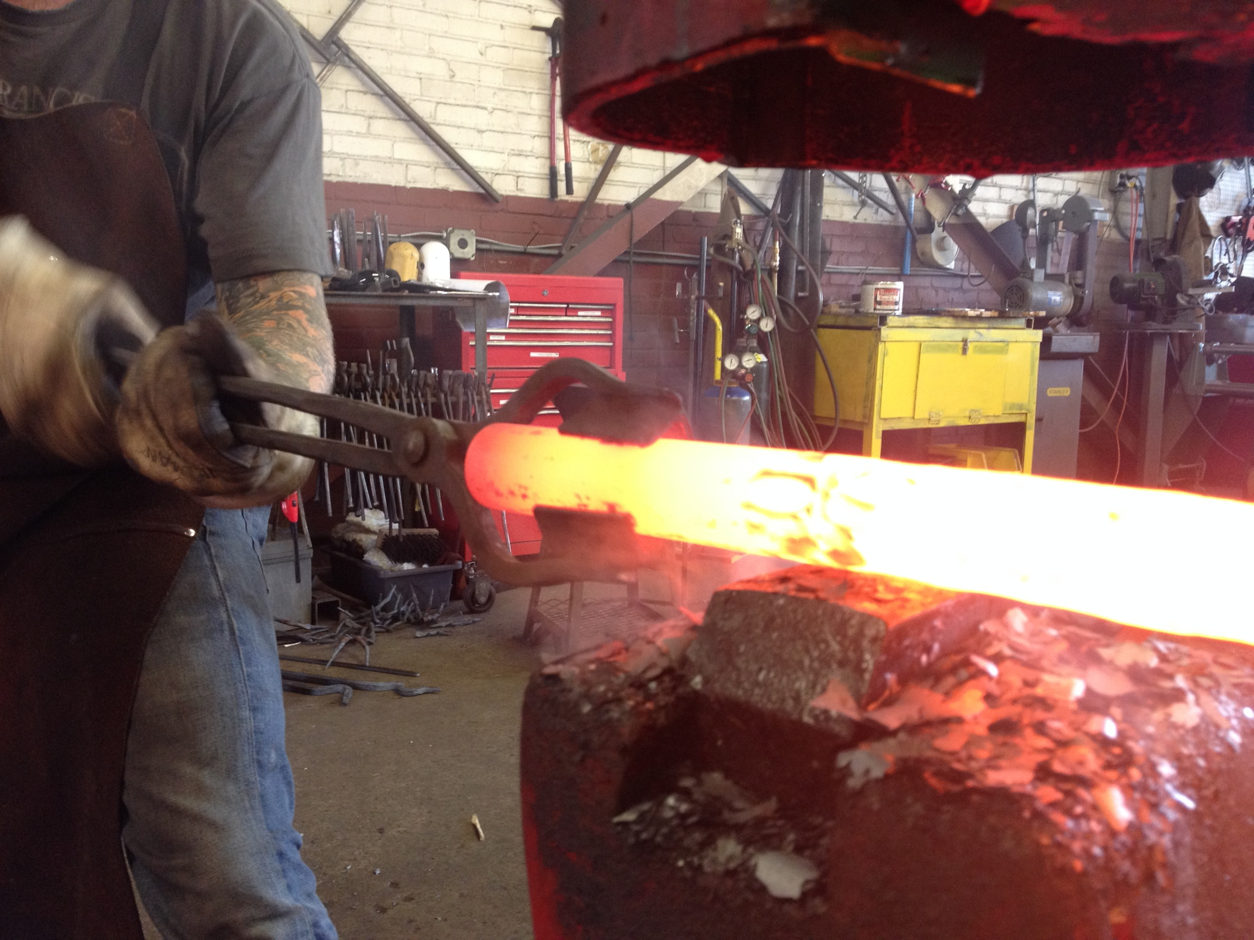 Texturing steel with the power hammer