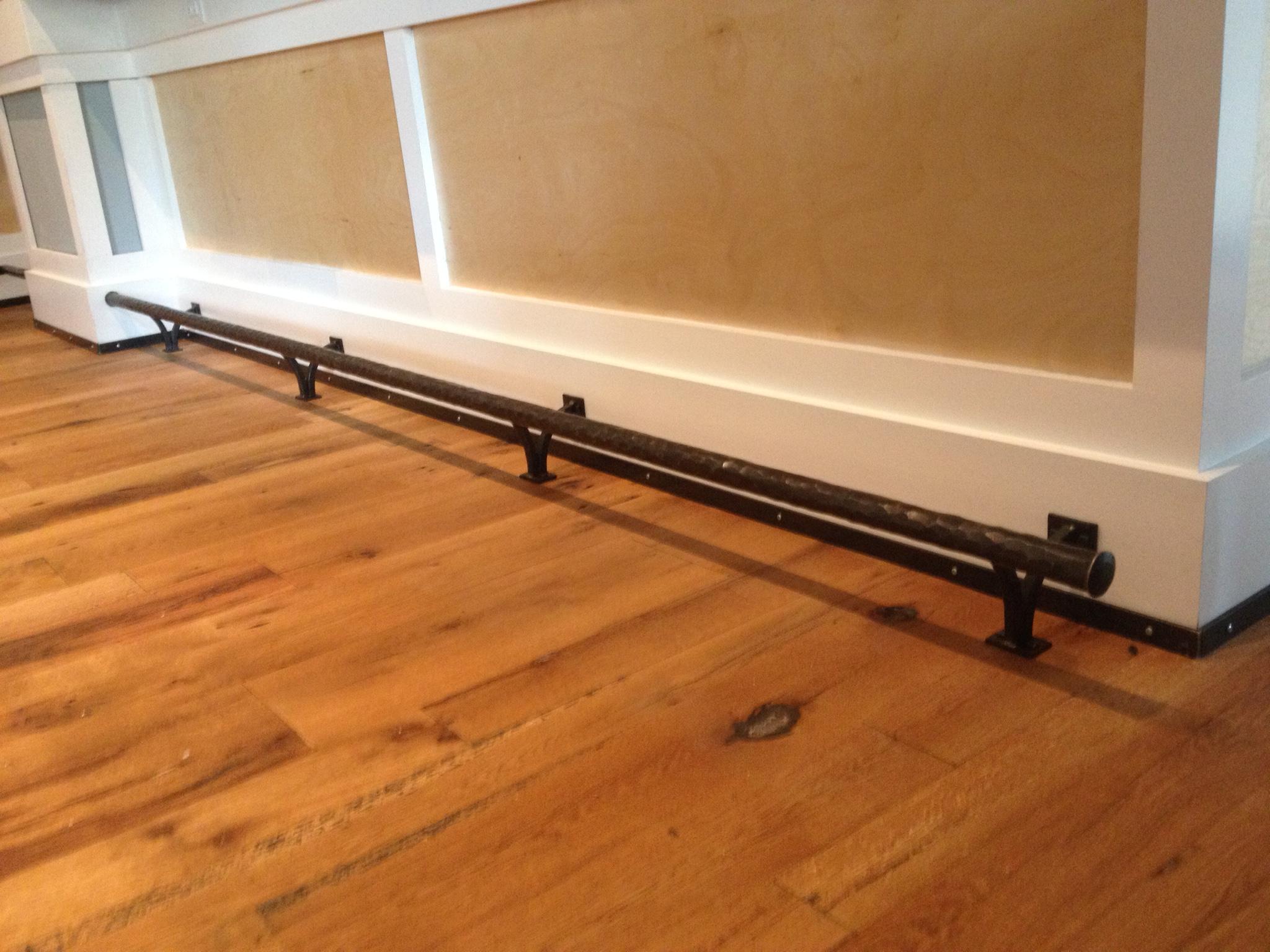 Hand forged bar rail by Phoenix Handcraft installed at Shagbark restaurant