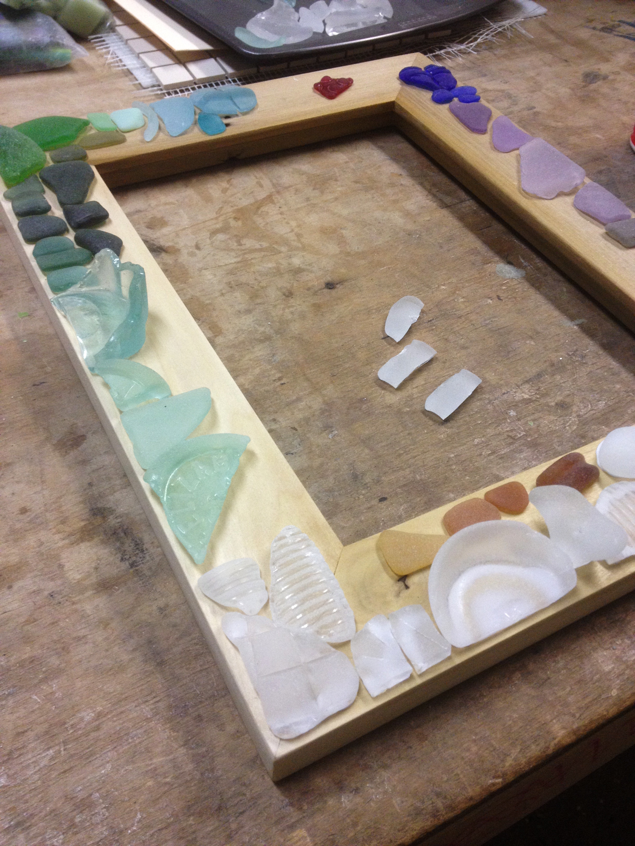 Custom seaglass mosaic mirror in progress