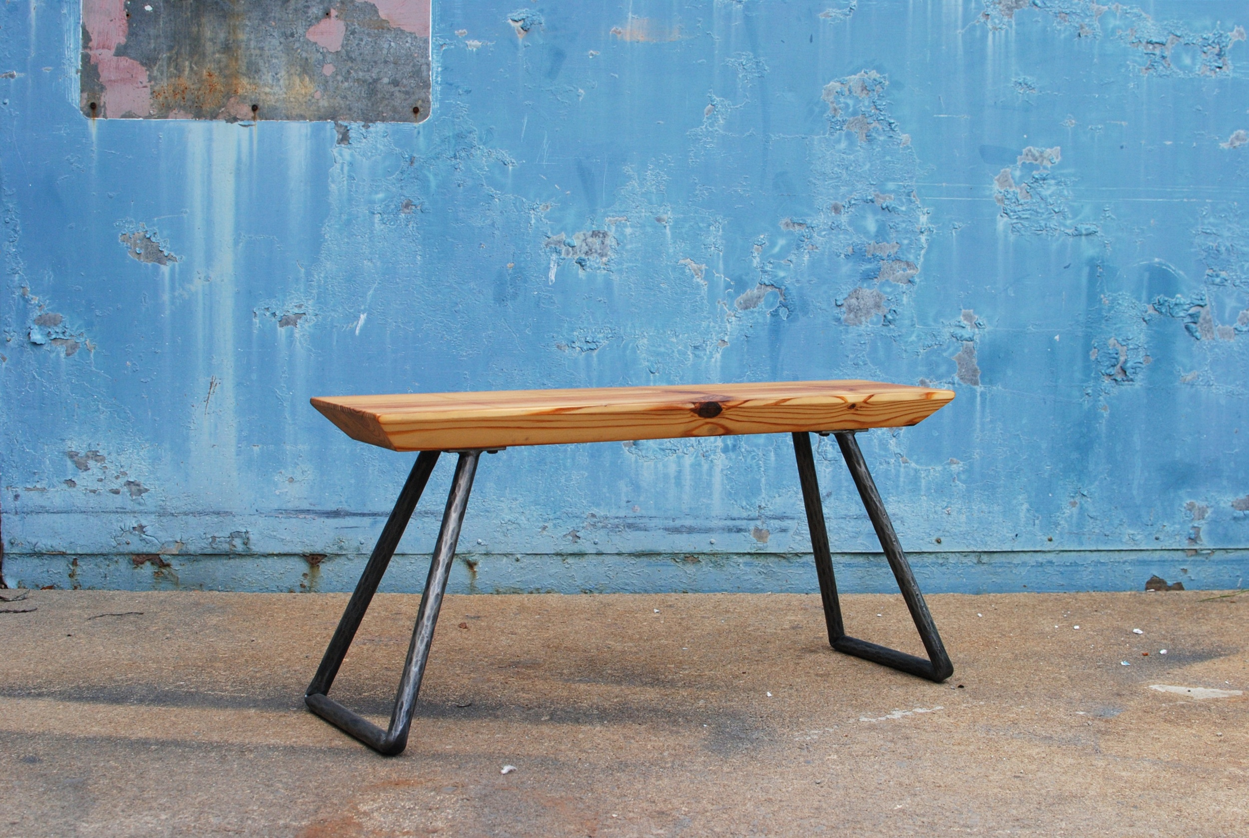 Heartpine Bench with forged steel base