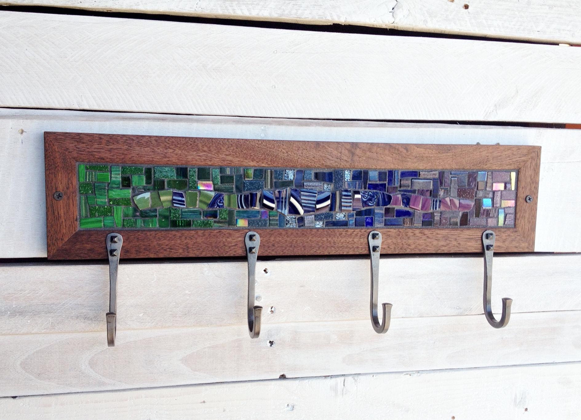Finished cool colors mosaic coat rack